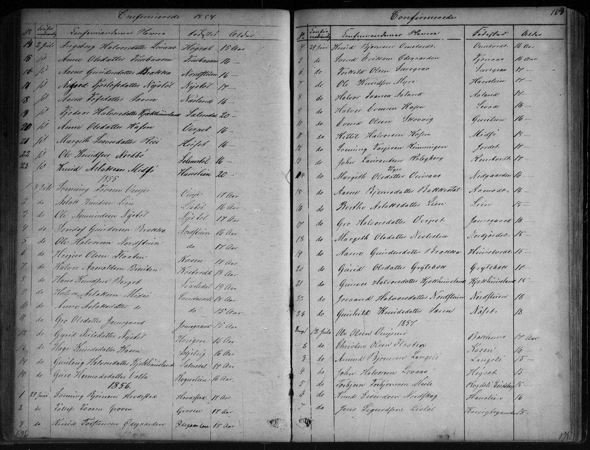 SAKO, Vinje kirkebøker, G/Ga/L0002: Klokkerbok nr. I 2, 1849-1893, s. 104