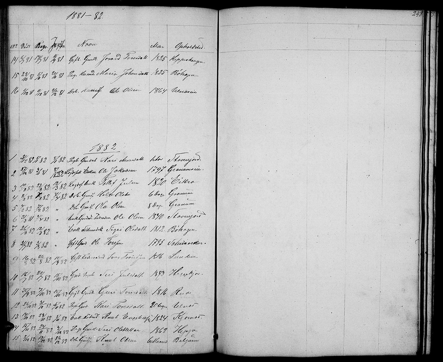 SAH, Nord-Aurdal prestekontor, Klokkerbok nr. 4, 1842-1882, s. 248