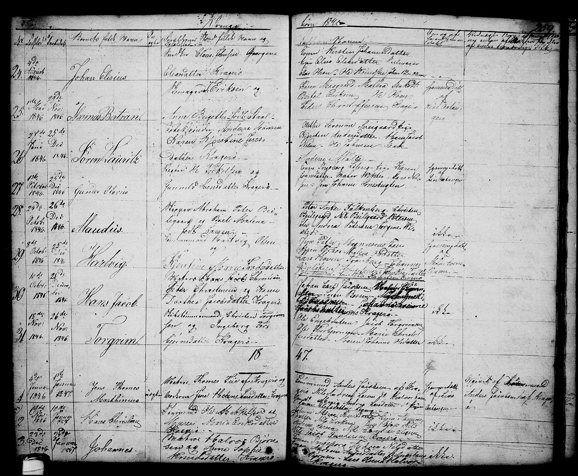 SAKO, Kragerø kirkebøker, G/Ga/L0003: Klokkerbok nr. 3, 1832-1852, s. 259