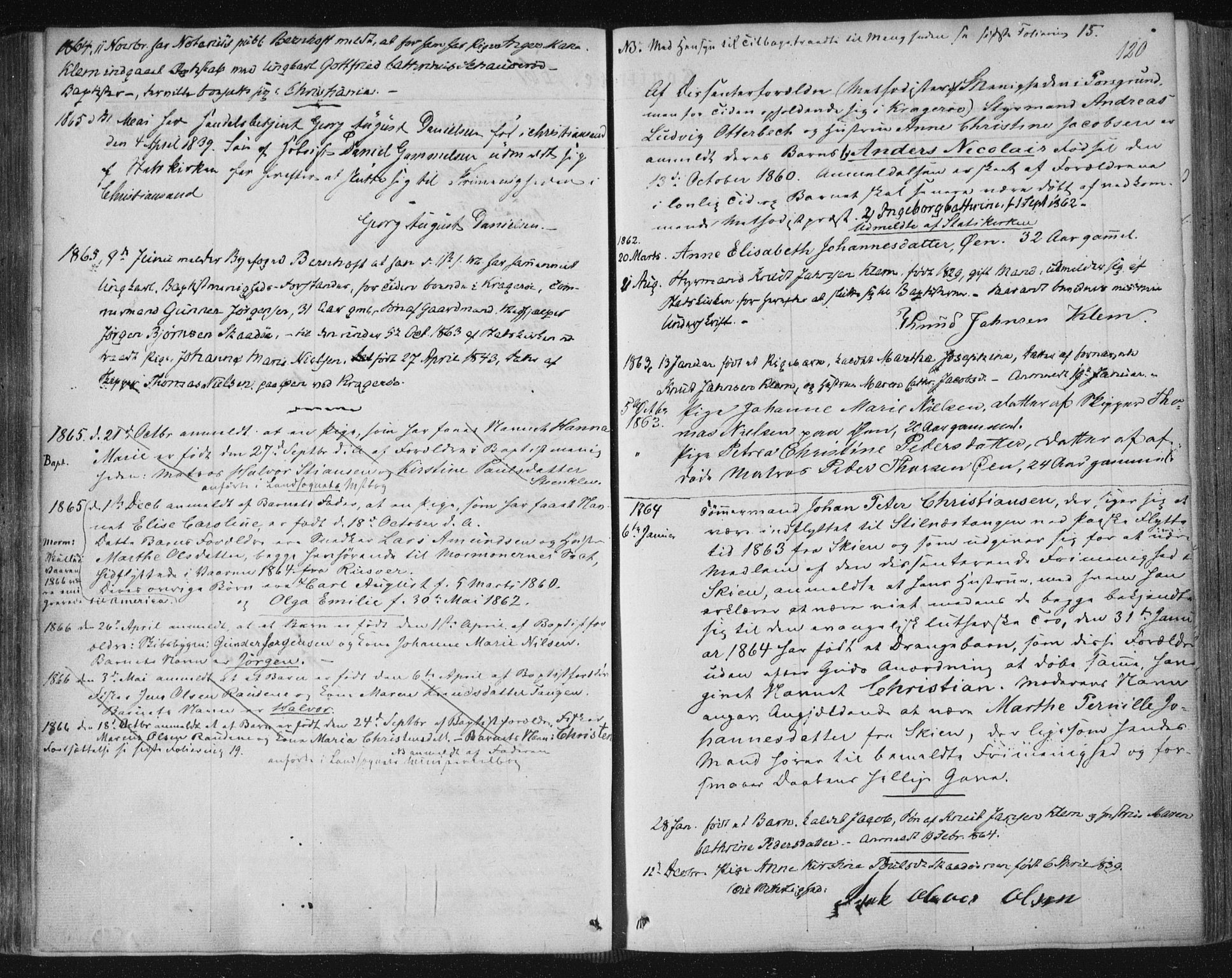 SAKO, Kragerø kirkebøker, F/Fa/L0006: Ministerialbok nr. 6, 1847-1861, s. 120