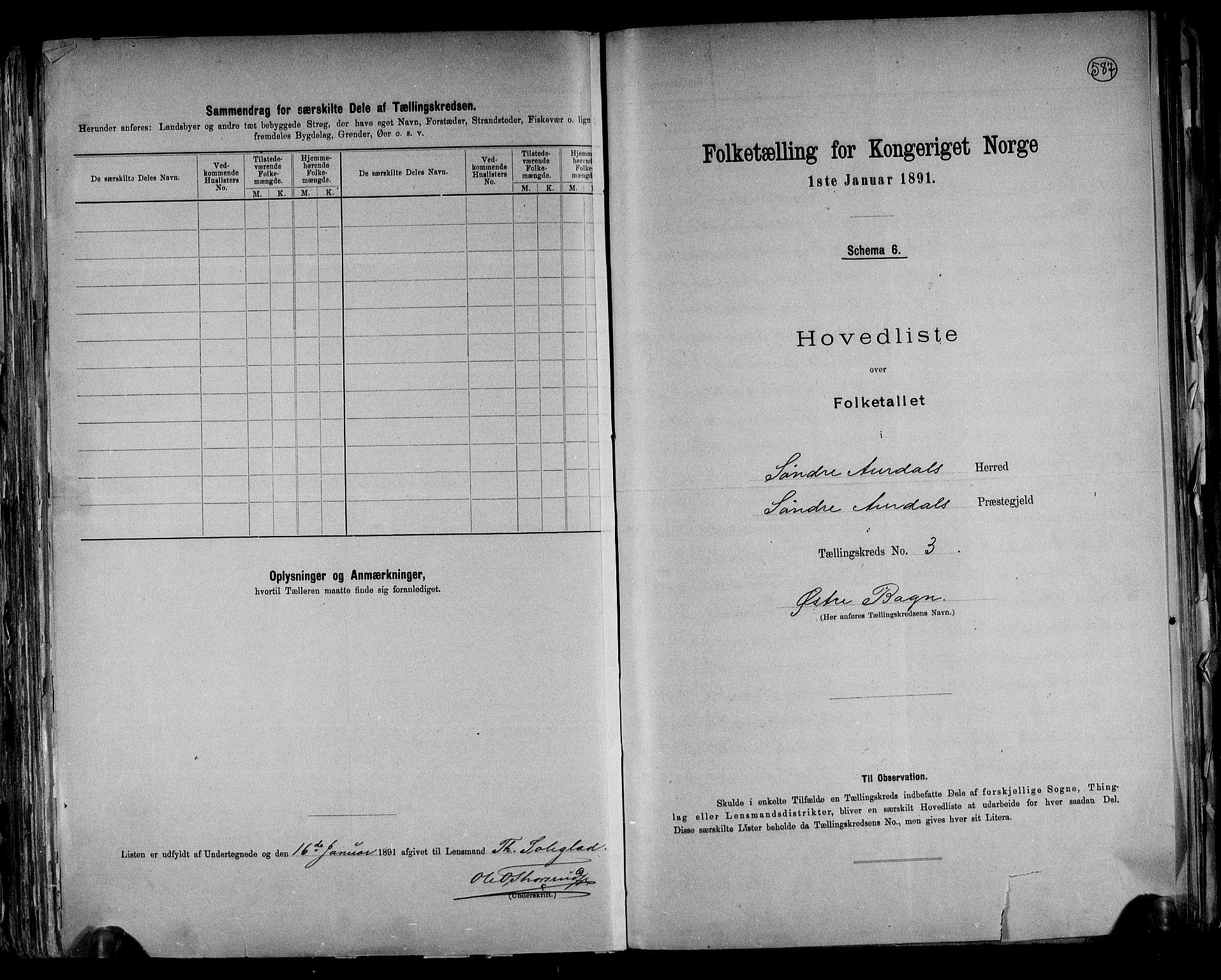RA, Folketelling 1891 for 0540 Sør-Aurdal herred, 1891, s. 10