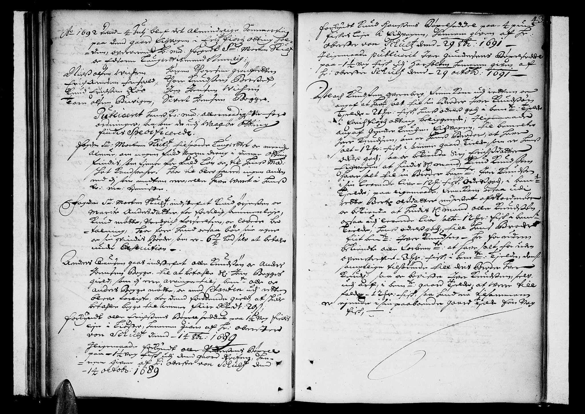 SAT, Romsdal sorenskriveri, 1/1A/L0002: Tingbok, 1690-1693, s. 42b-43a