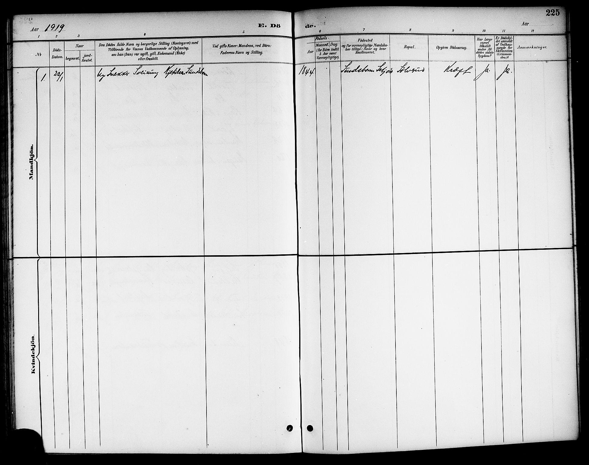 SAKO, Kviteseid kirkebøker, G/Ga/L0002: Klokkerbok nr. I 2, 1893-1918, s. 225