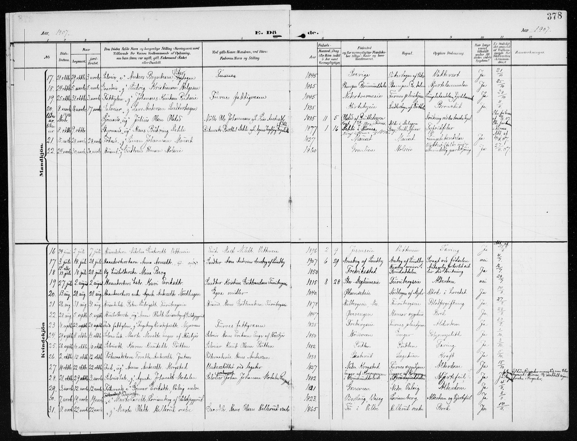 SAH, Furnes sokneprestkontor, K/Ka/L0001: Ministerialbok nr. 1, 1907-1935, s. 378