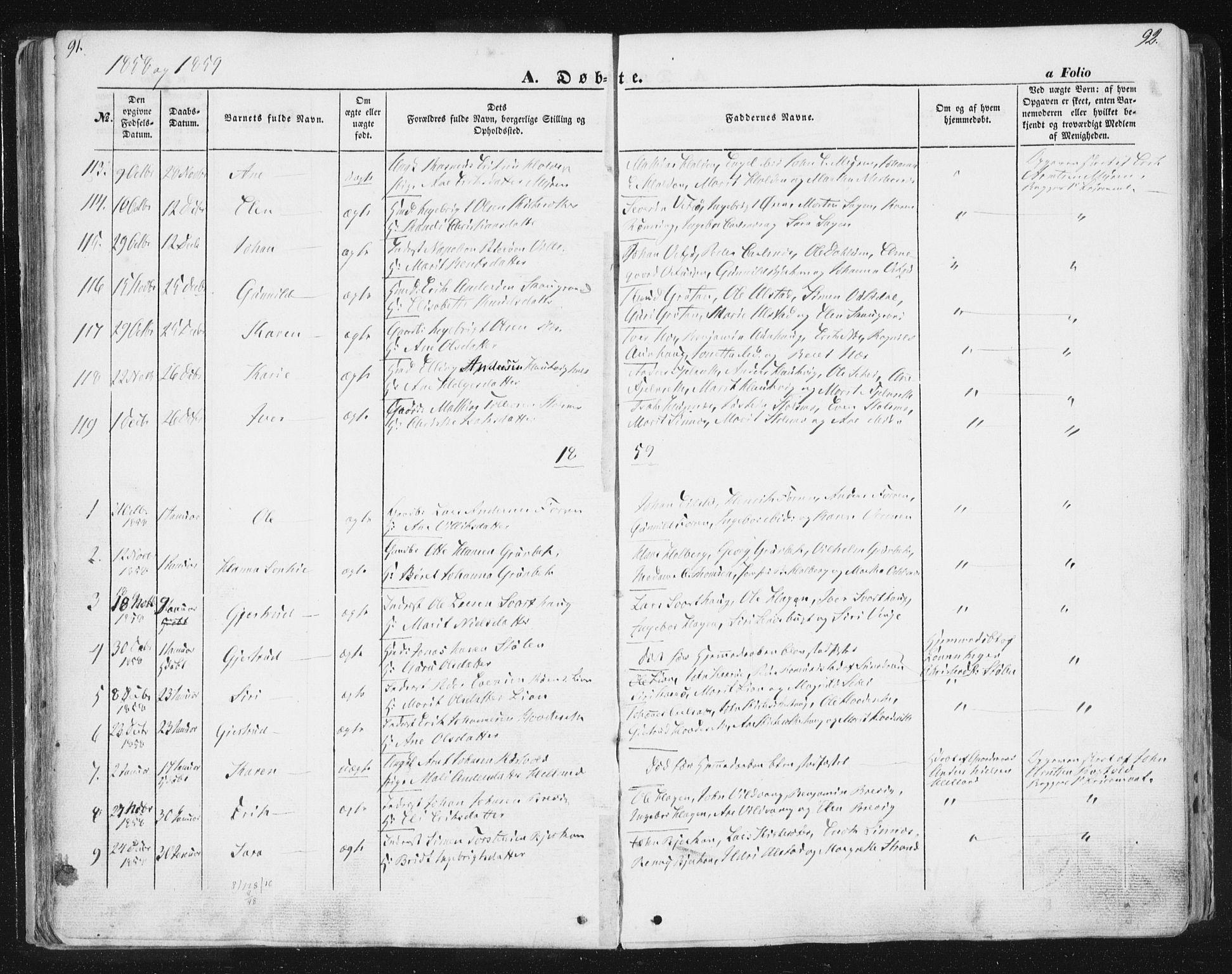 SAT, Ministerialprotokoller, klokkerbøker og fødselsregistre - Sør-Trøndelag, 630/L0494: Ministerialbok nr. 630A07, 1852-1868, s. 91-92
