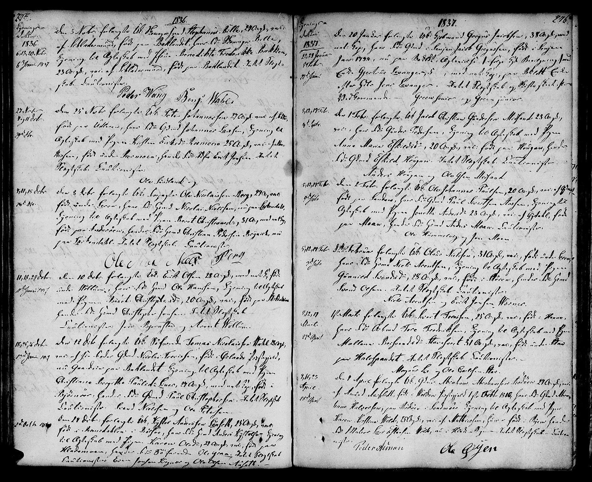 SAT, Ministerialprotokoller, klokkerbøker og fødselsregistre - Sør-Trøndelag, 604/L0181: Ministerialbok nr. 604A02, 1798-1817, s. 275-276