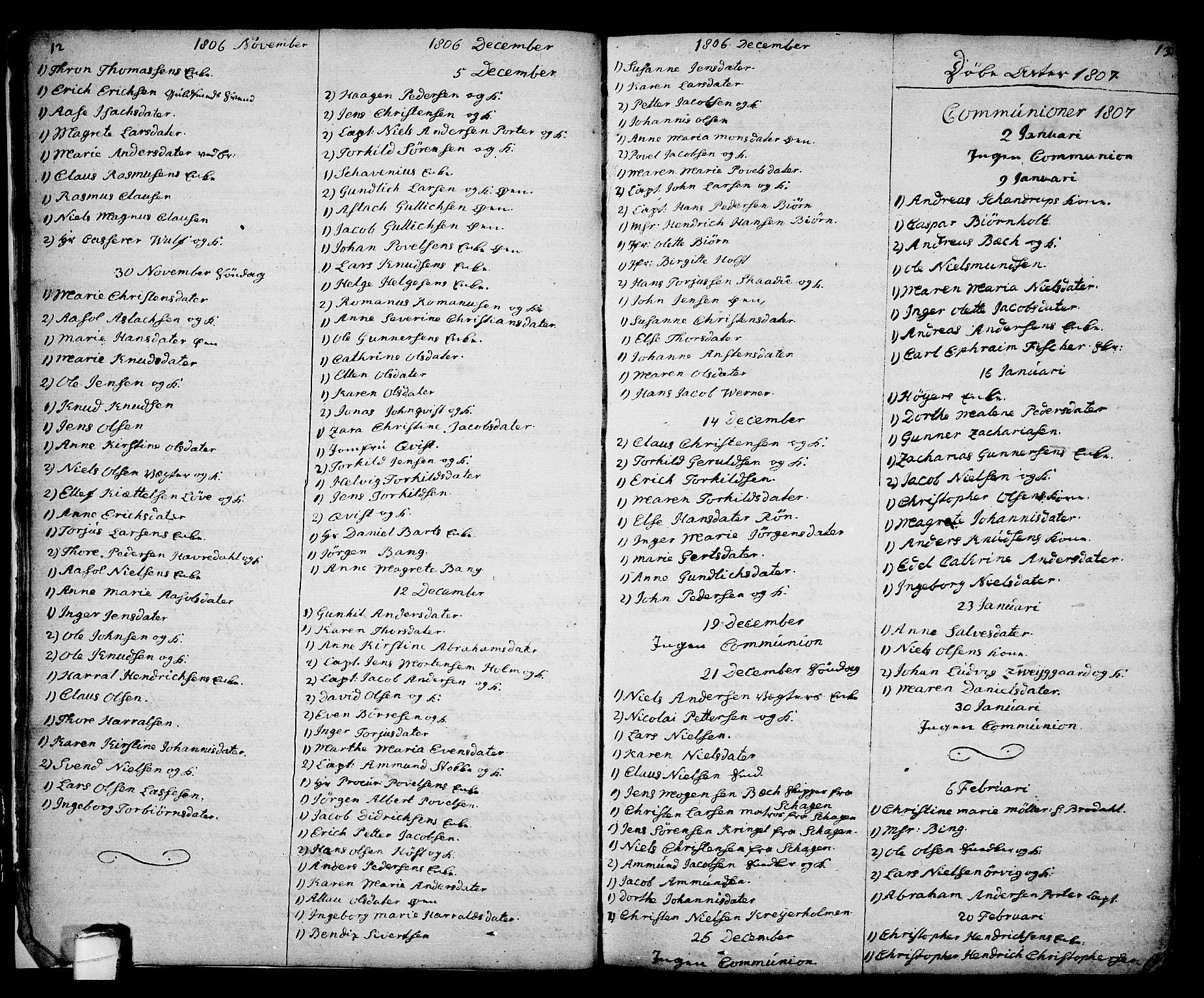 SAKO, Kragerø kirkebøker, G/Ga/L0001: Klokkerbok nr. 1 /1, 1806-1811, s. 12-13