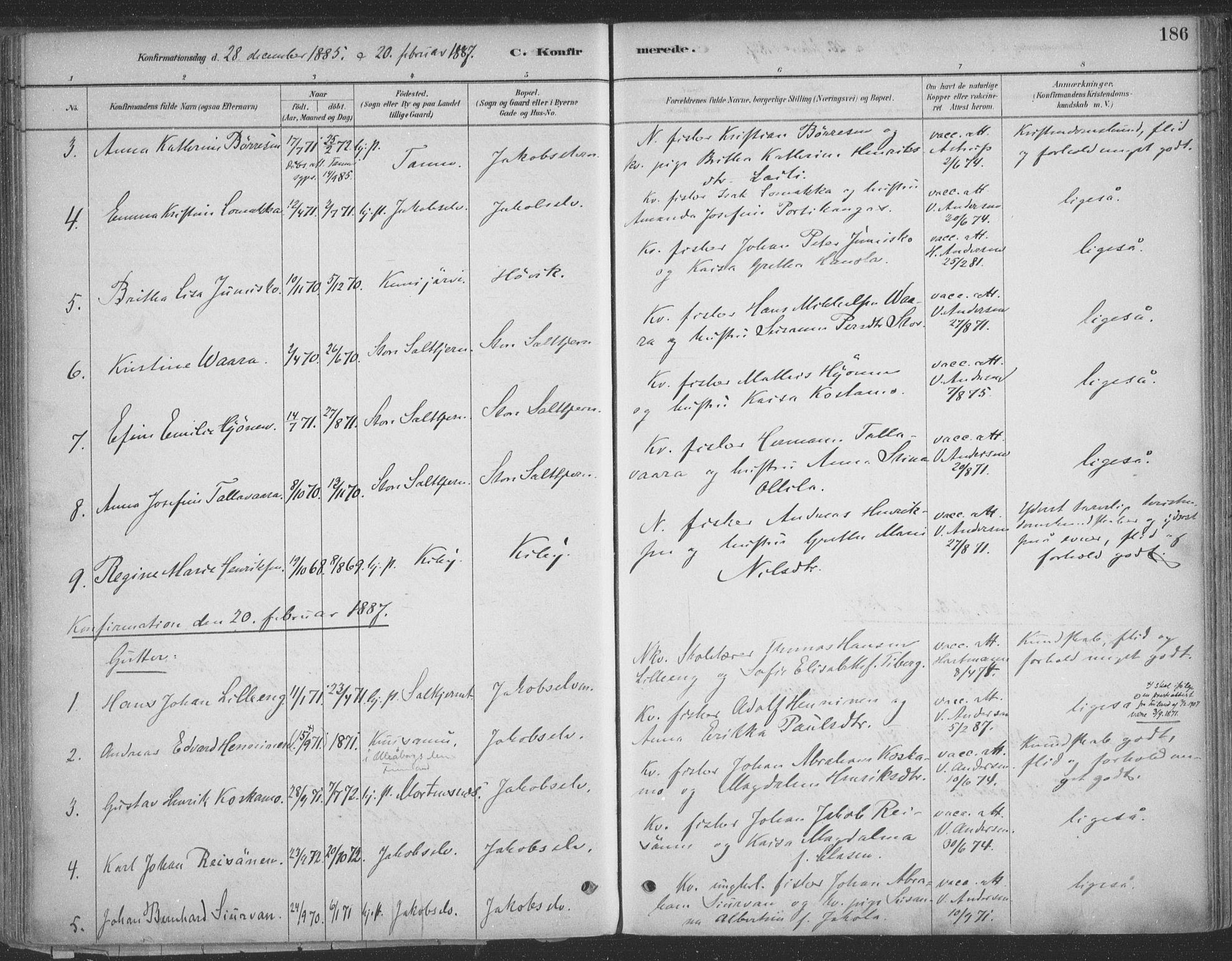 SATØ, Vadsø sokneprestkontor, H/Ha/L0009kirke: Ministerialbok nr. 9, 1881-1917, s. 186