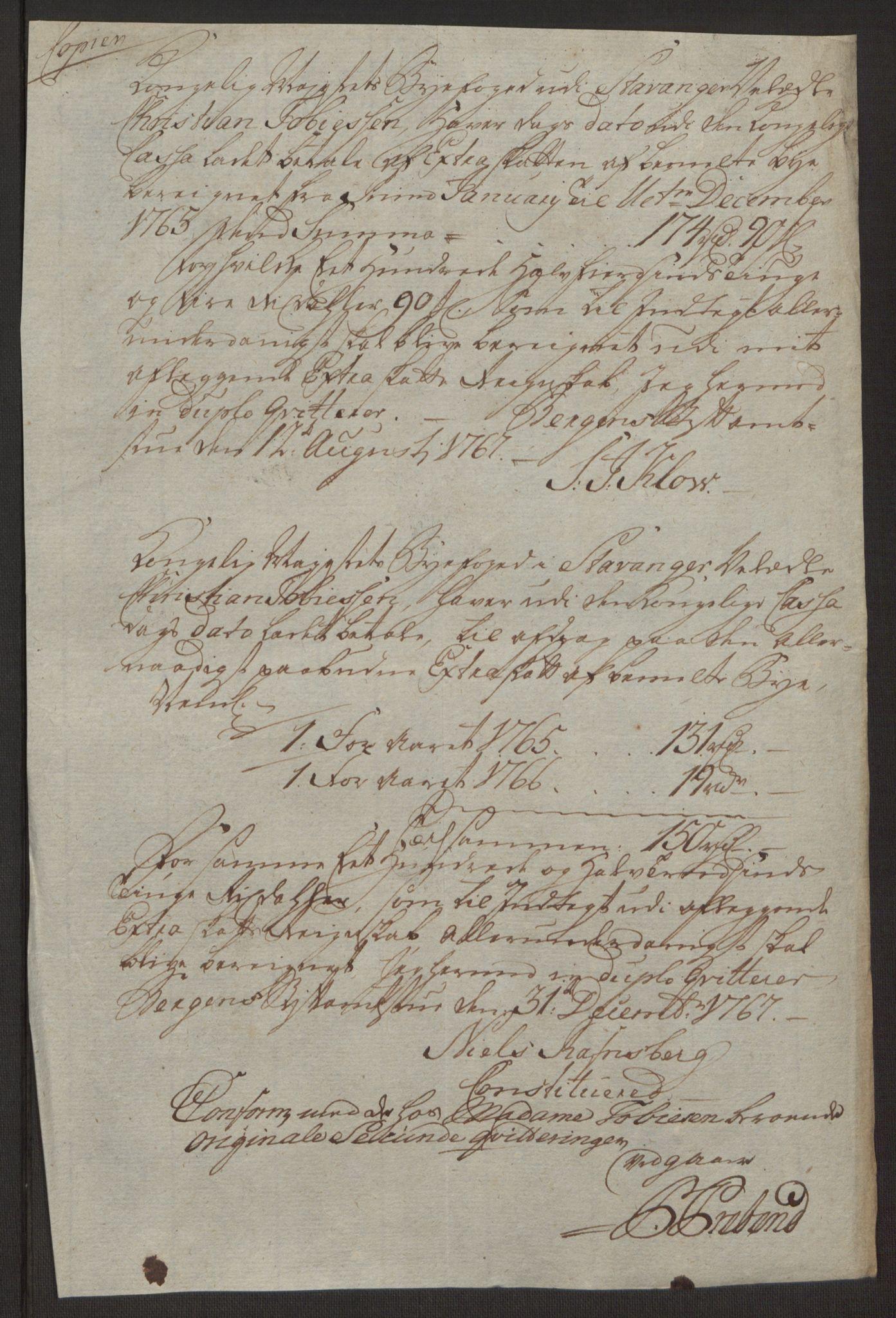 RA, Rentekammeret inntil 1814, Reviderte regnskaper, Byregnskaper, R/Ro/L0305: [O6] Kontribusjonsregnskap, 1762-1768, s. 127