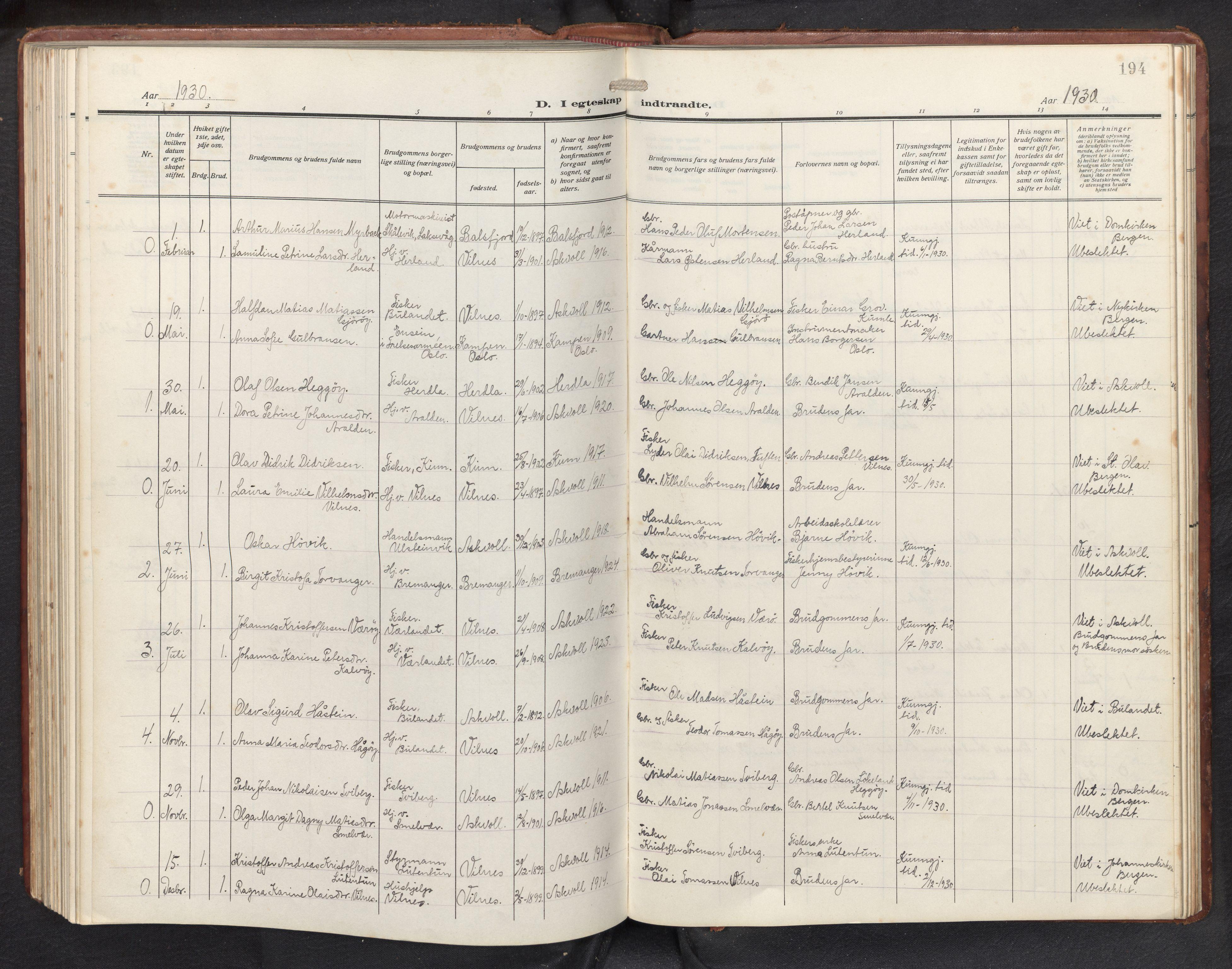 SAB, Askvoll sokneprestembete, H/Hab/Habb/L0002: Klokkerbok nr. B 2, 1910-1947, s. 193b-194a