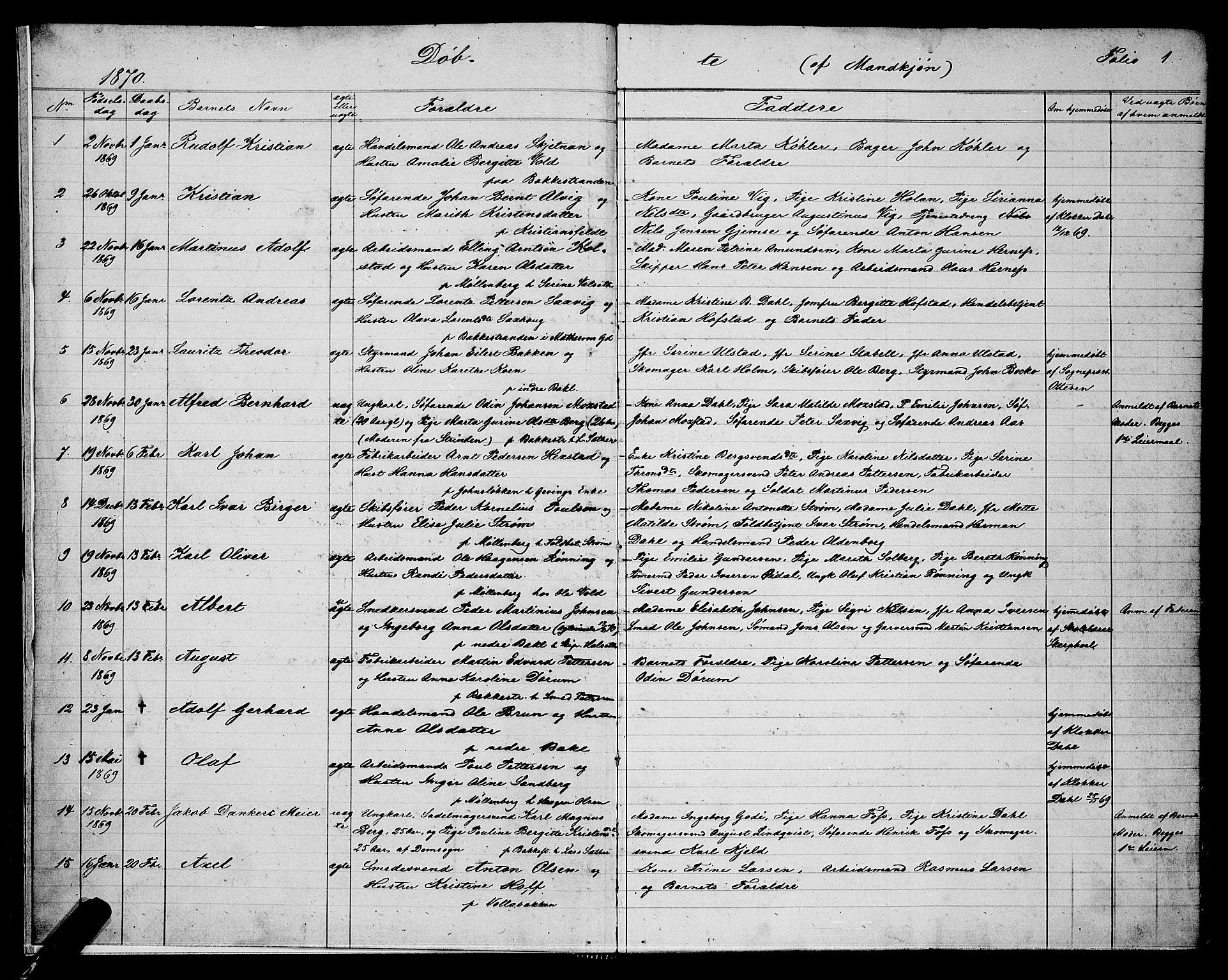 SAT, Ministerialprotokoller, klokkerbøker og fødselsregistre - Sør-Trøndelag, 604/L0220: Klokkerbok nr. 604C03, 1870-1885, s. 1