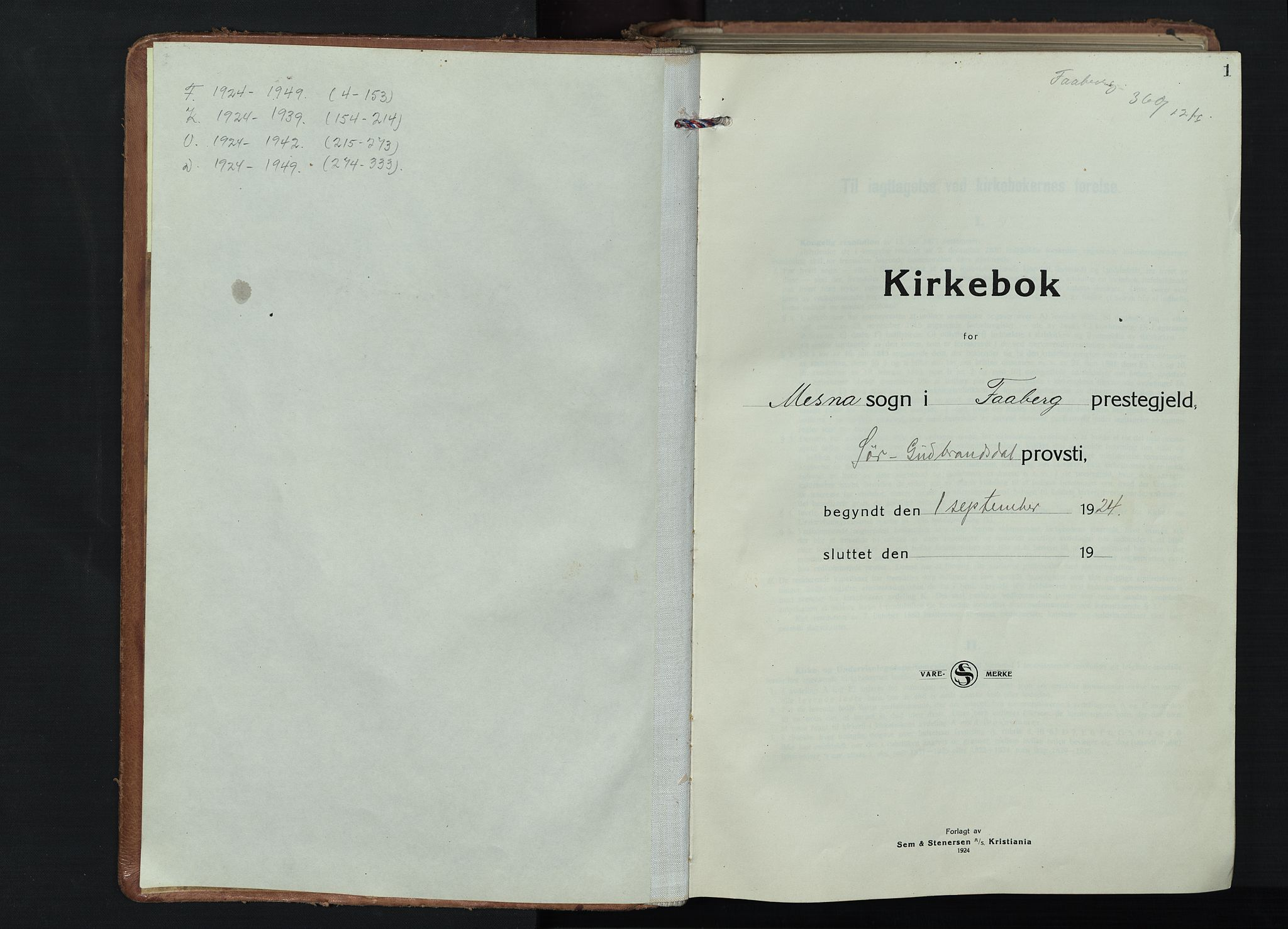 SAH, Fåberg prestekontor, Klokkerbok nr. 15, 1924-1949, s. 1