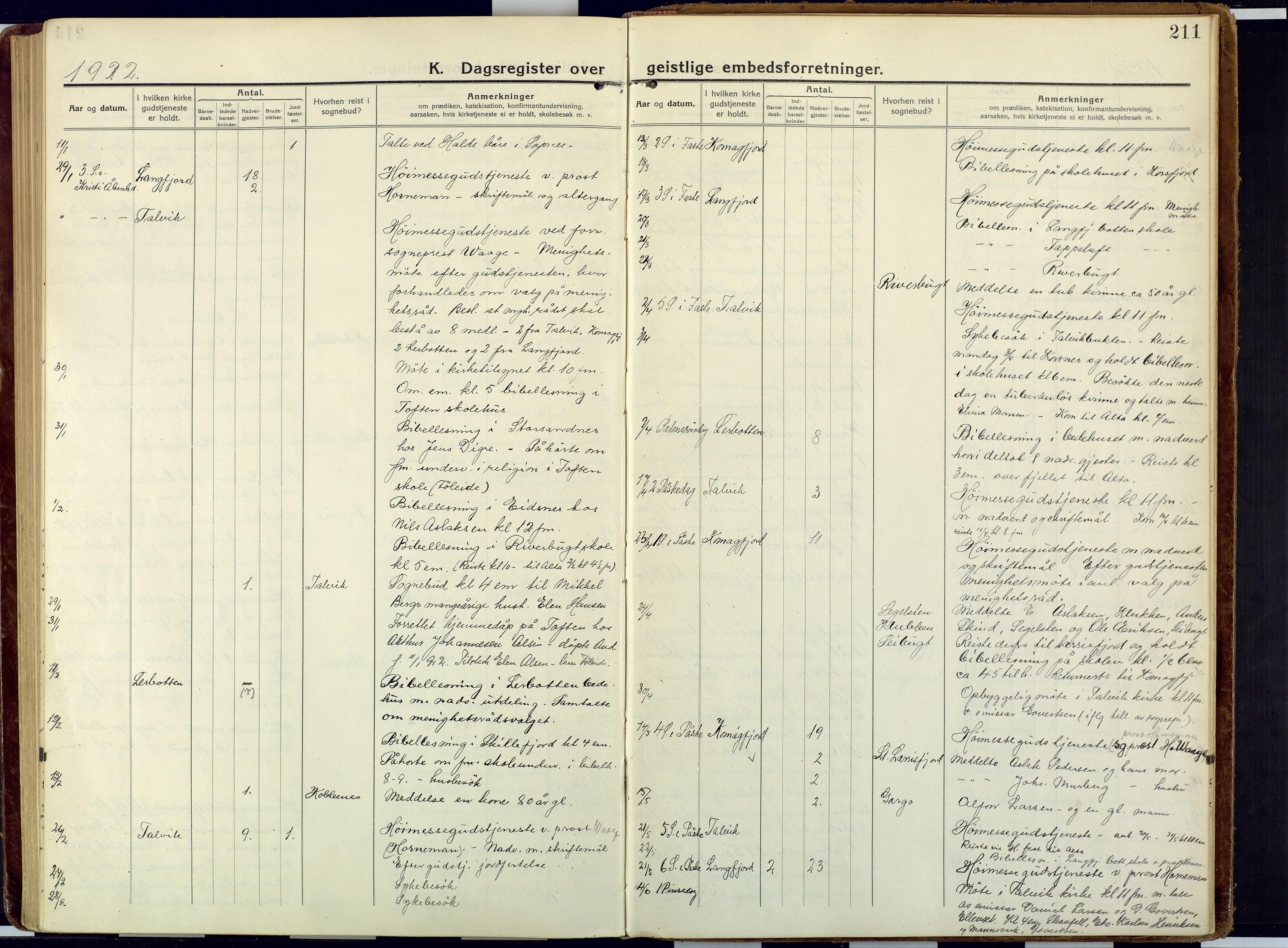 SATØ, Talvik sokneprestkontor, H/Ha/L0018kirke: Ministerialbok nr. 18, 1915-1924, s. 211