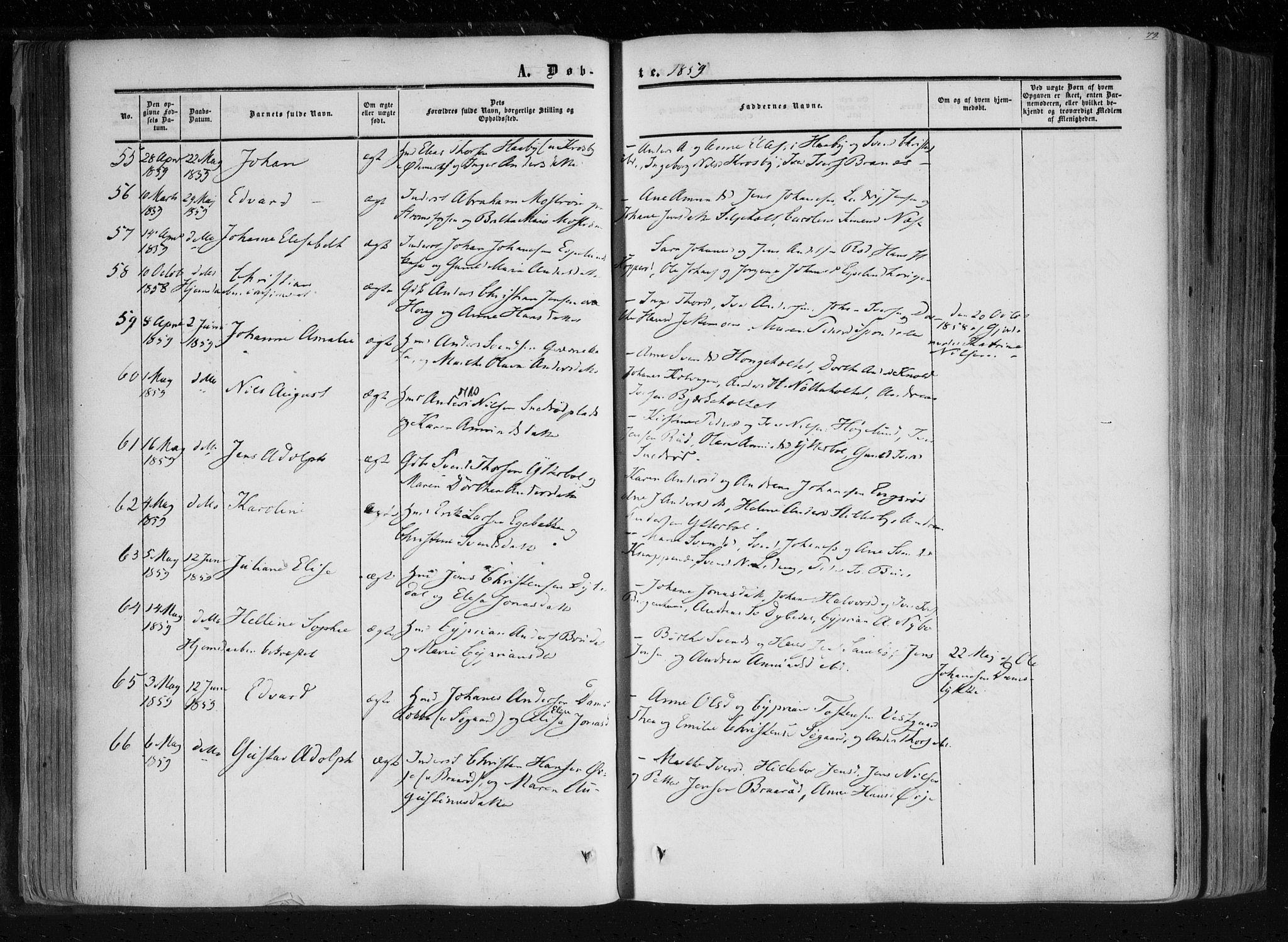 SAO, Aremark prestekontor Kirkebøker, F/Fc/L0003: Ministerialbok nr. III 3, 1850-1865, s. 79