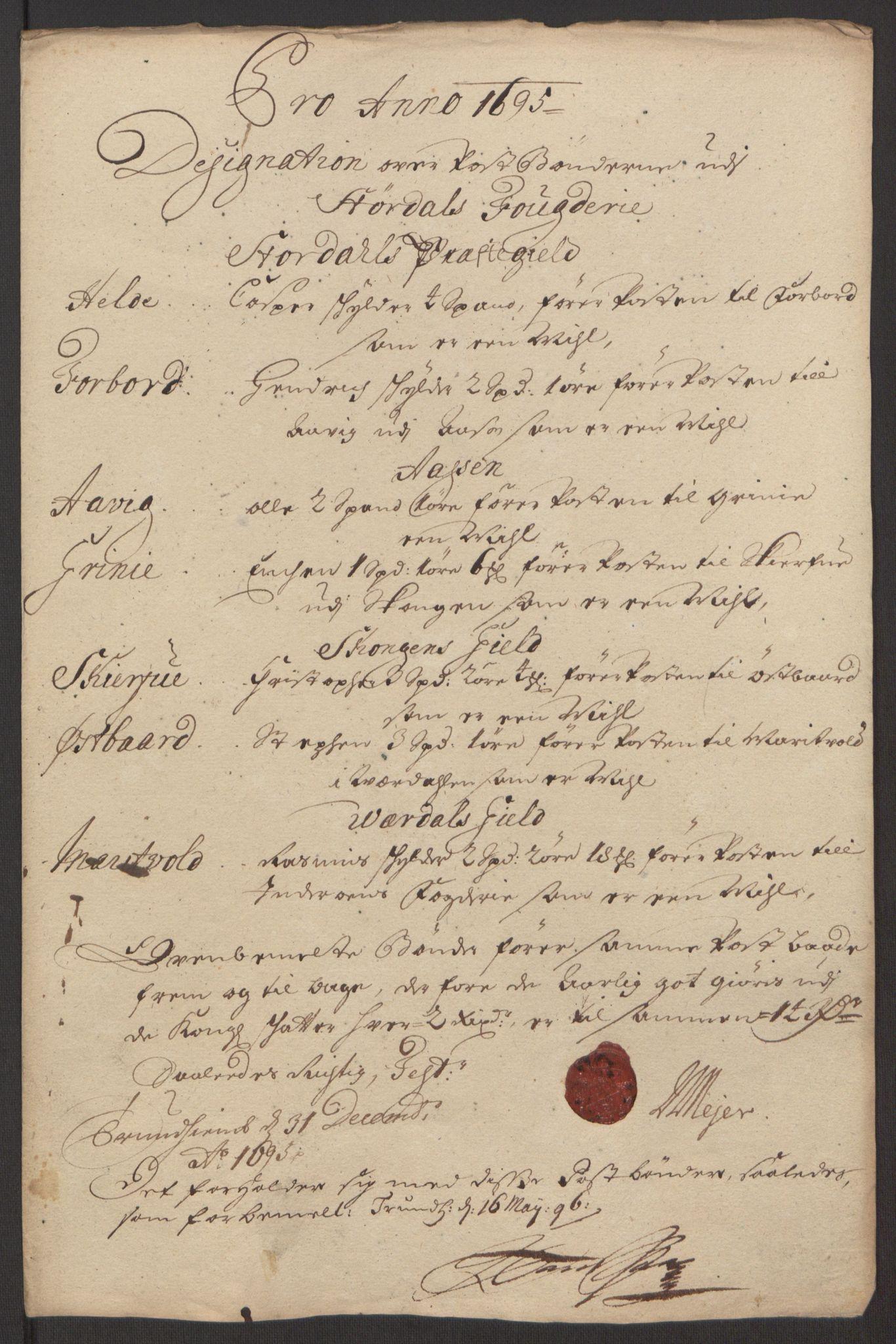 RA, Rentekammeret inntil 1814, Reviderte regnskaper, Fogderegnskap, R62/L4187: Fogderegnskap Stjørdal og Verdal, 1695, s. 142