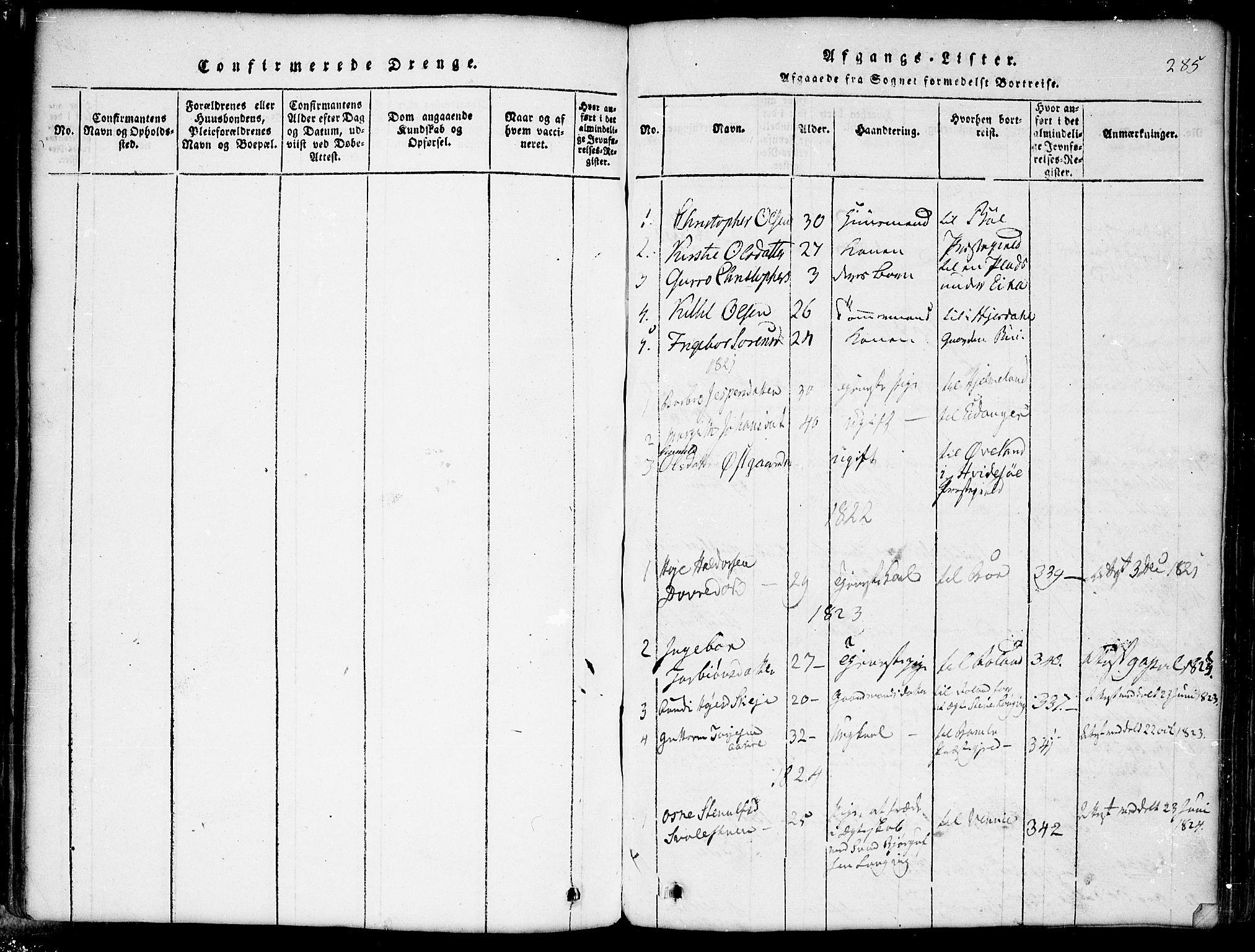 SAKO, Seljord kirkebøker, G/Gb/L0002: Klokkerbok nr. II 2, 1815-1854, s. 285
