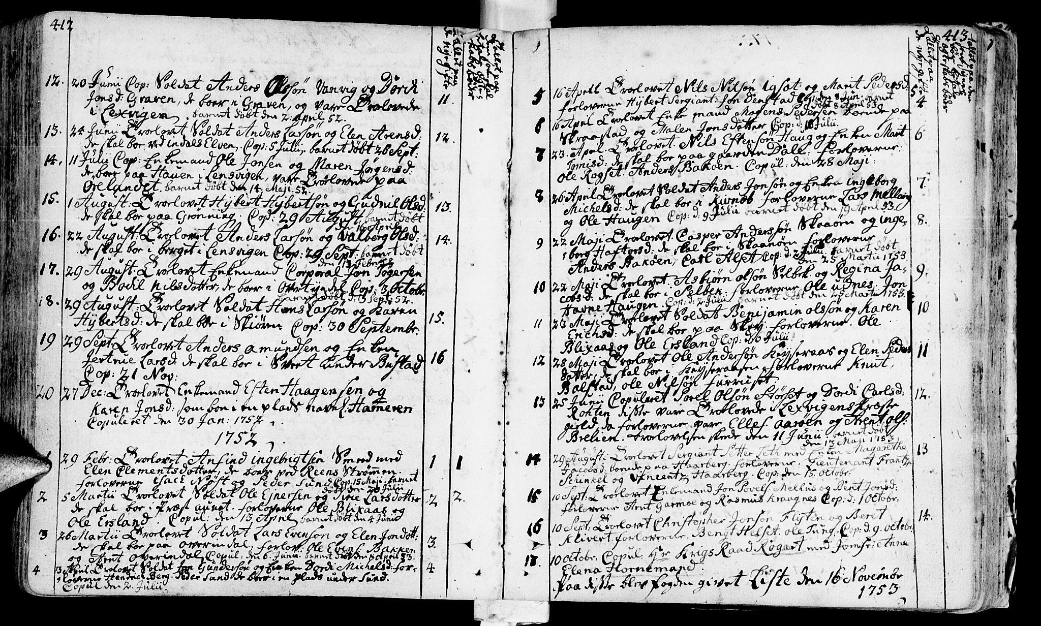 SAT, Ministerialprotokoller, klokkerbøker og fødselsregistre - Sør-Trøndelag, 646/L0605: Ministerialbok nr. 646A03, 1751-1790, s. 412-413