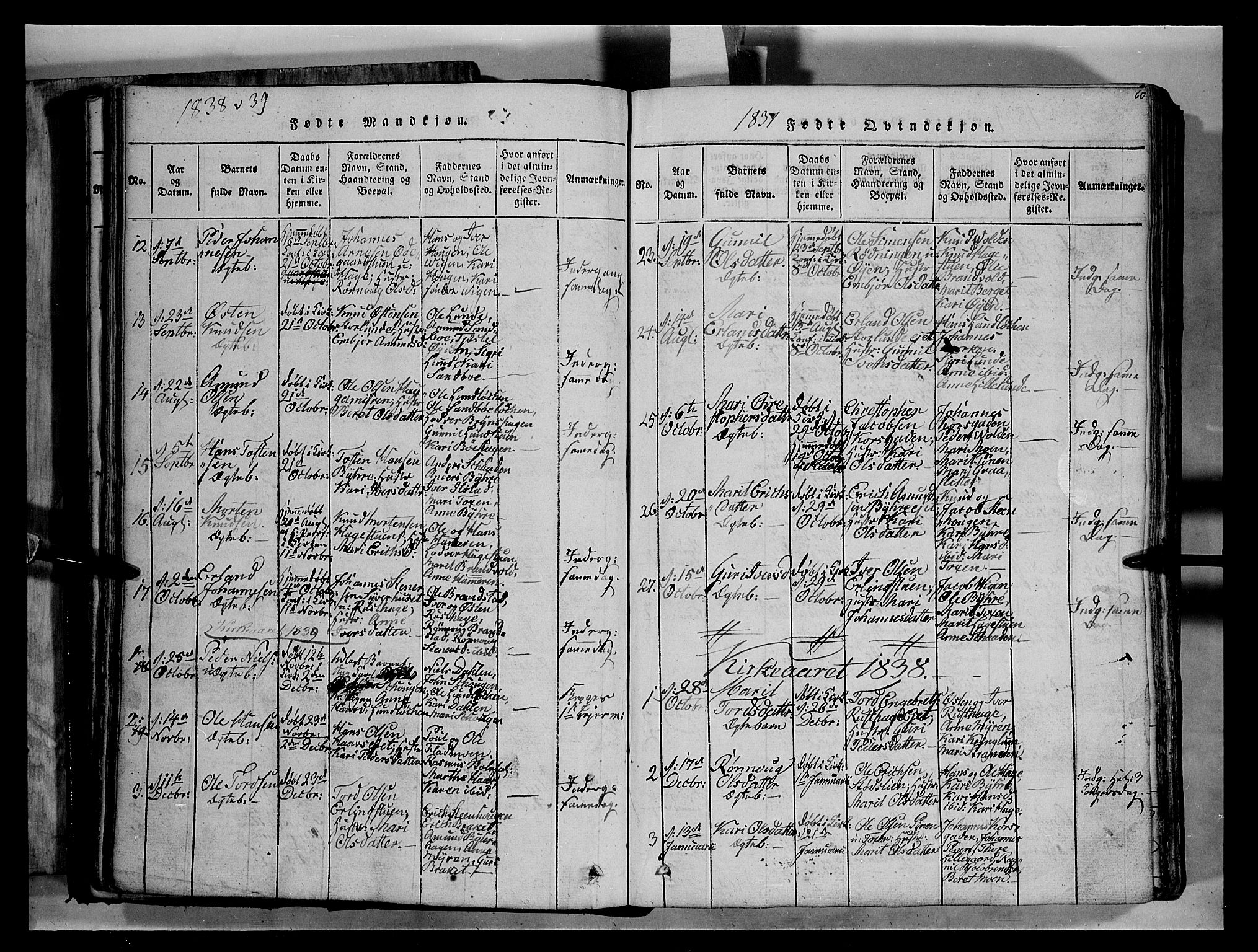 SAH, Fron prestekontor, H/Ha/Hab/L0004: Klokkerbok nr. 4, 1816-1850, s. 60