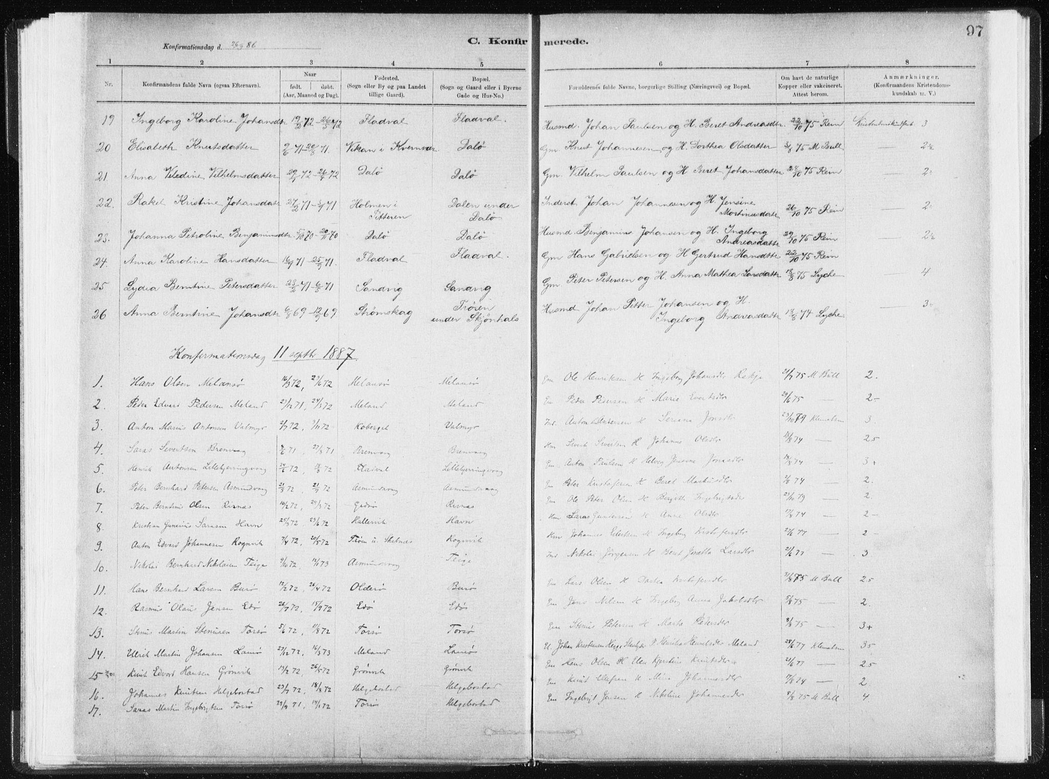 SAT, Ministerialprotokoller, klokkerbøker og fødselsregistre - Sør-Trøndelag, 634/L0533: Ministerialbok nr. 634A09, 1882-1901, s. 97