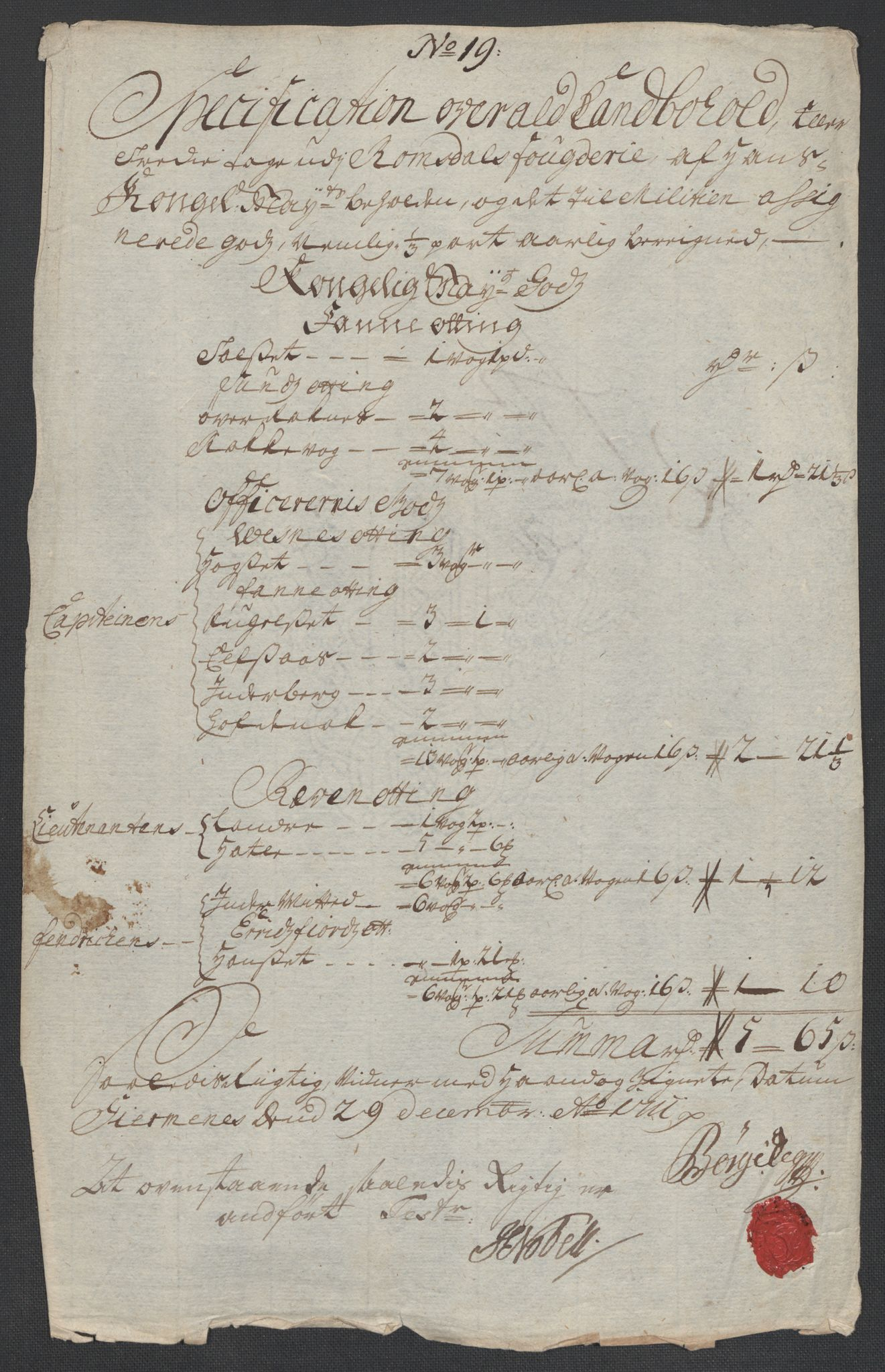 RA, Rentekammeret inntil 1814, Reviderte regnskaper, Fogderegnskap, R55/L3660: Fogderegnskap Romsdal, 1711, s. 356