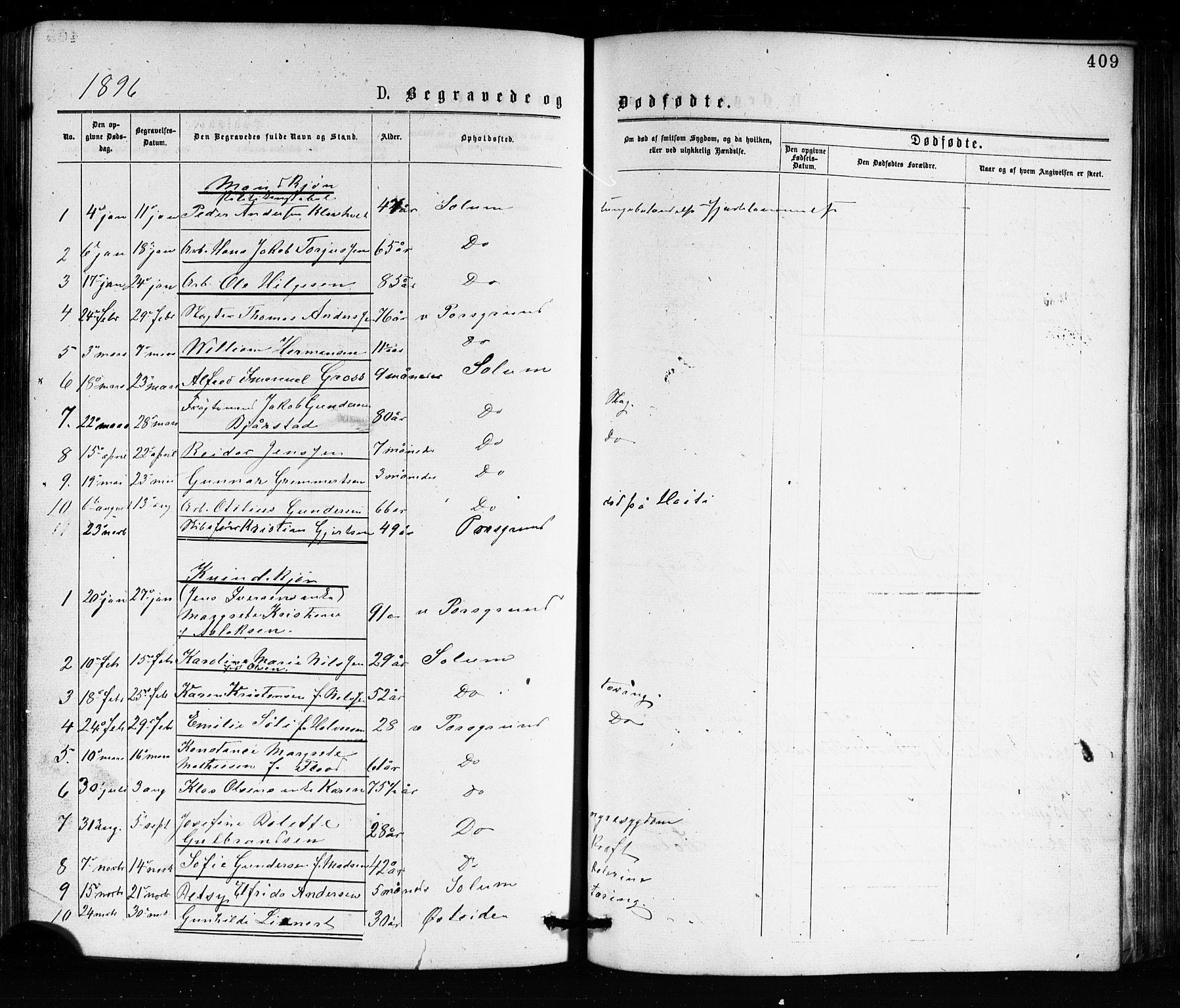 SAKO, Porsgrunn kirkebøker , G/Ga/L0003: Klokkerbok nr. I 3, 1877-1915, s. 409