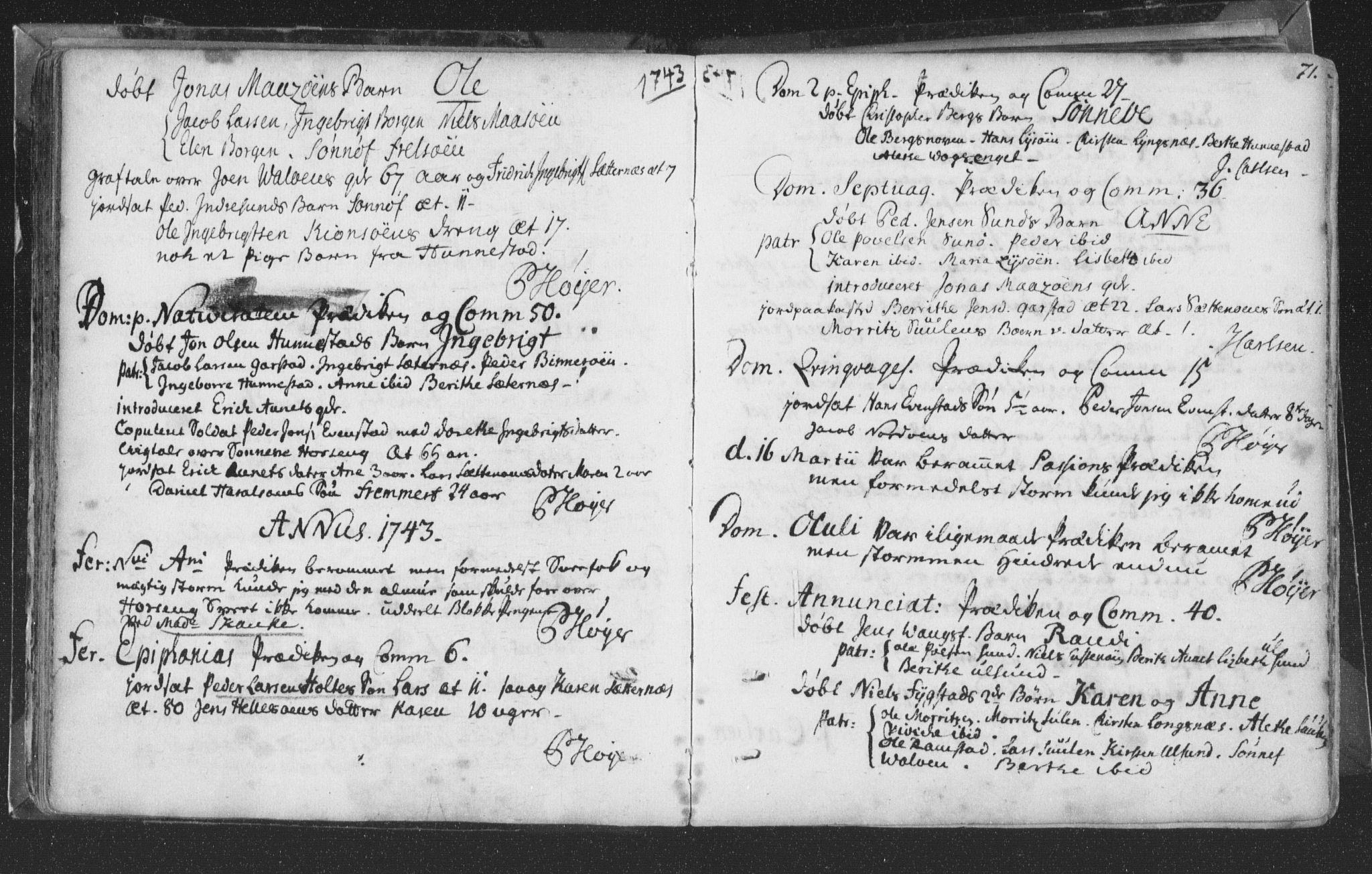 SAT, Ministerialprotokoller, klokkerbøker og fødselsregistre - Nord-Trøndelag, 786/L0685: Ministerialbok nr. 786A01, 1710-1798, s. 71