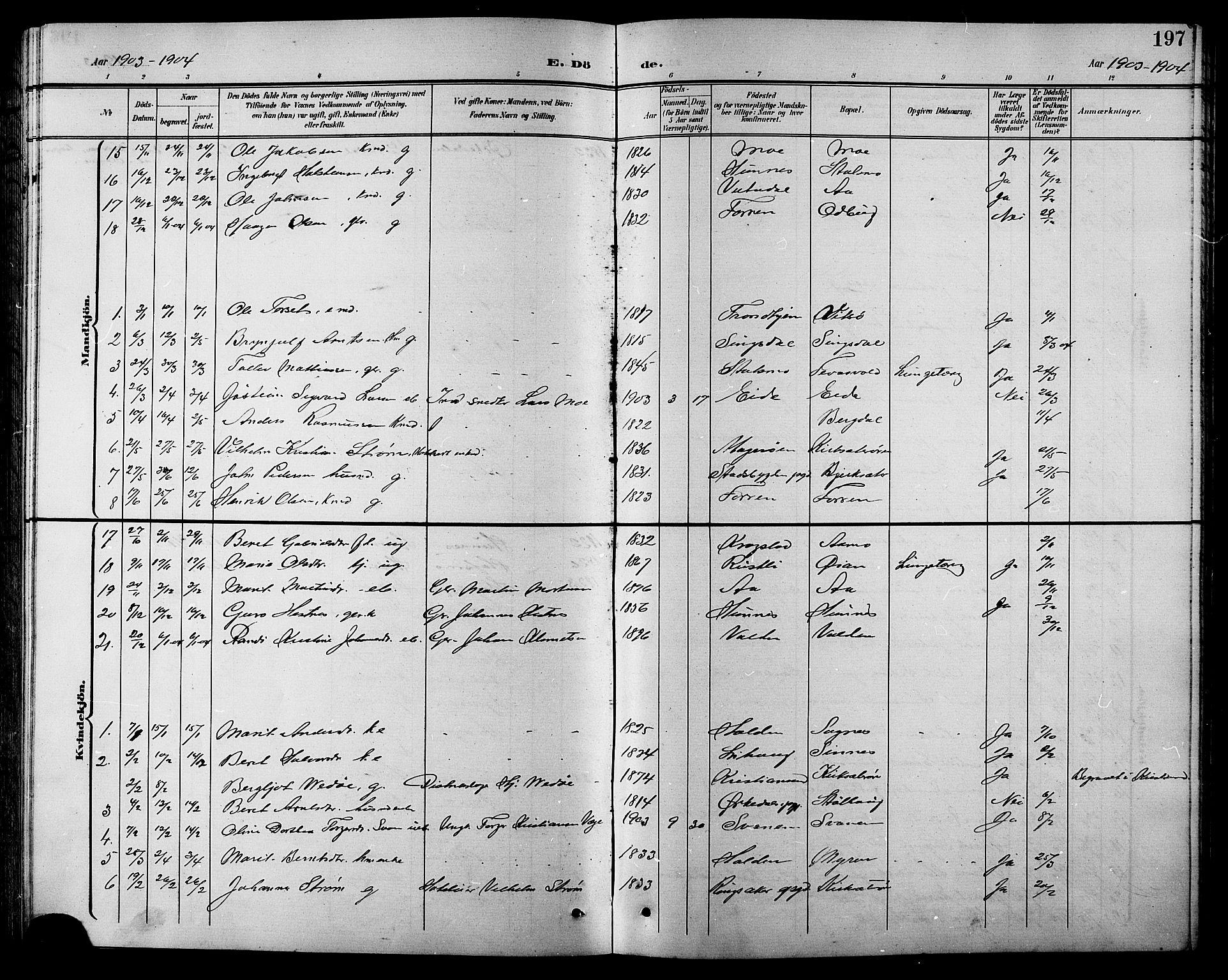 SAT, Ministerialprotokoller, klokkerbøker og fødselsregistre - Sør-Trøndelag, 630/L0505: Klokkerbok nr. 630C03, 1899-1914, s. 197