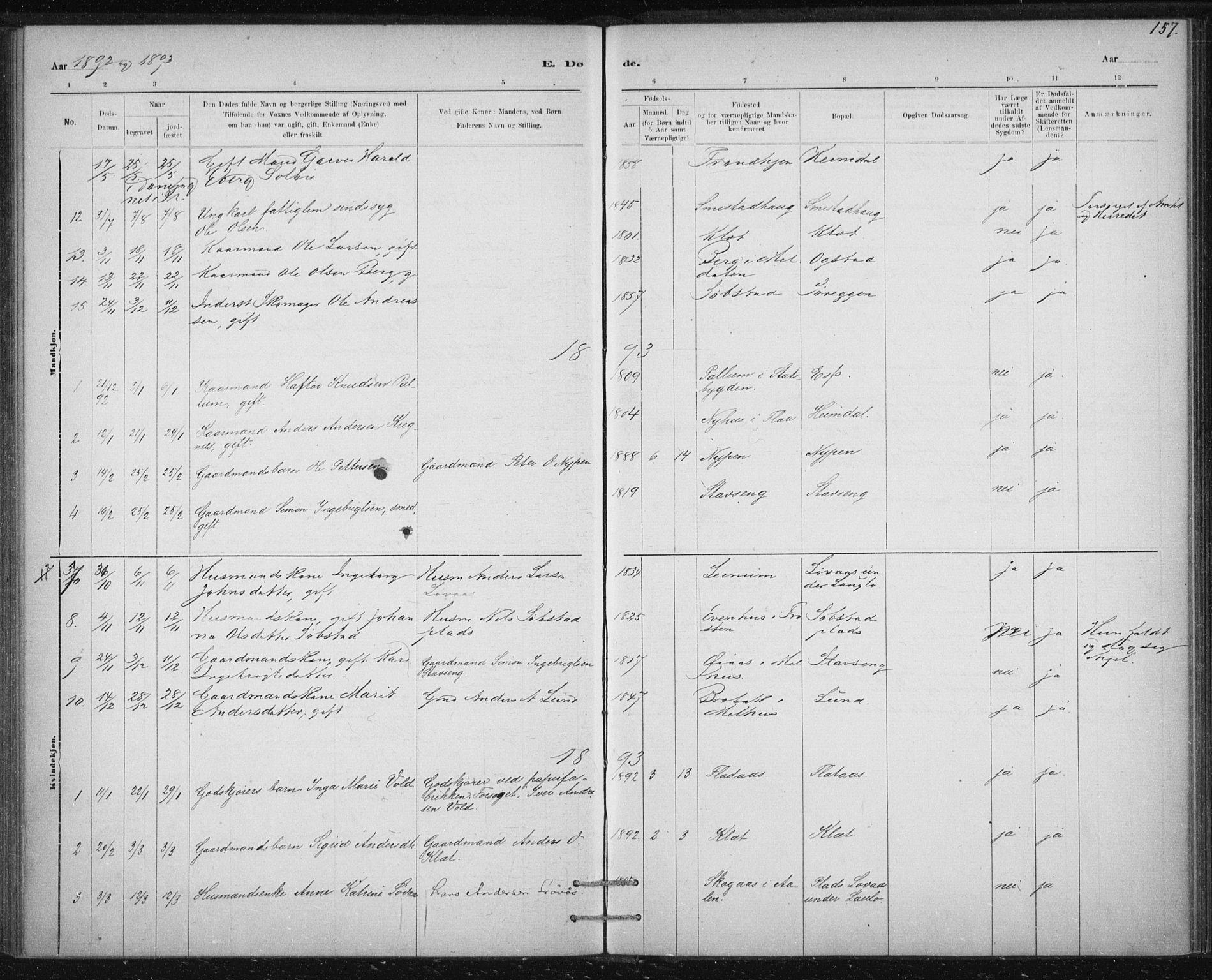 SAT, Ministerialprotokoller, klokkerbøker og fødselsregistre - Sør-Trøndelag, 613/L0392: Ministerialbok nr. 613A01, 1887-1906, s. 157