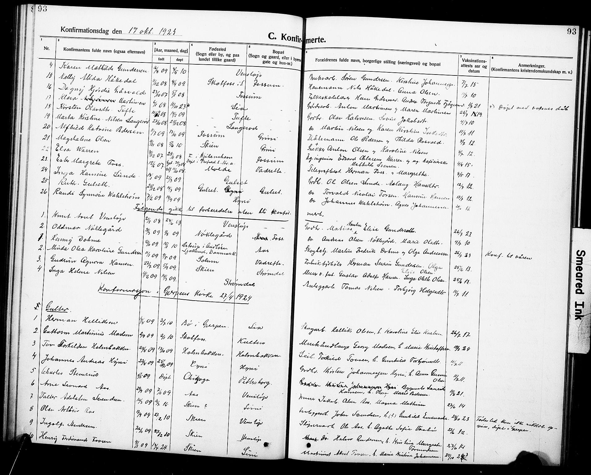 SAKO, Gjerpen kirkebøker, G/Ga/L0004: Klokkerbok nr. I 4, 1920-1931, s. 93