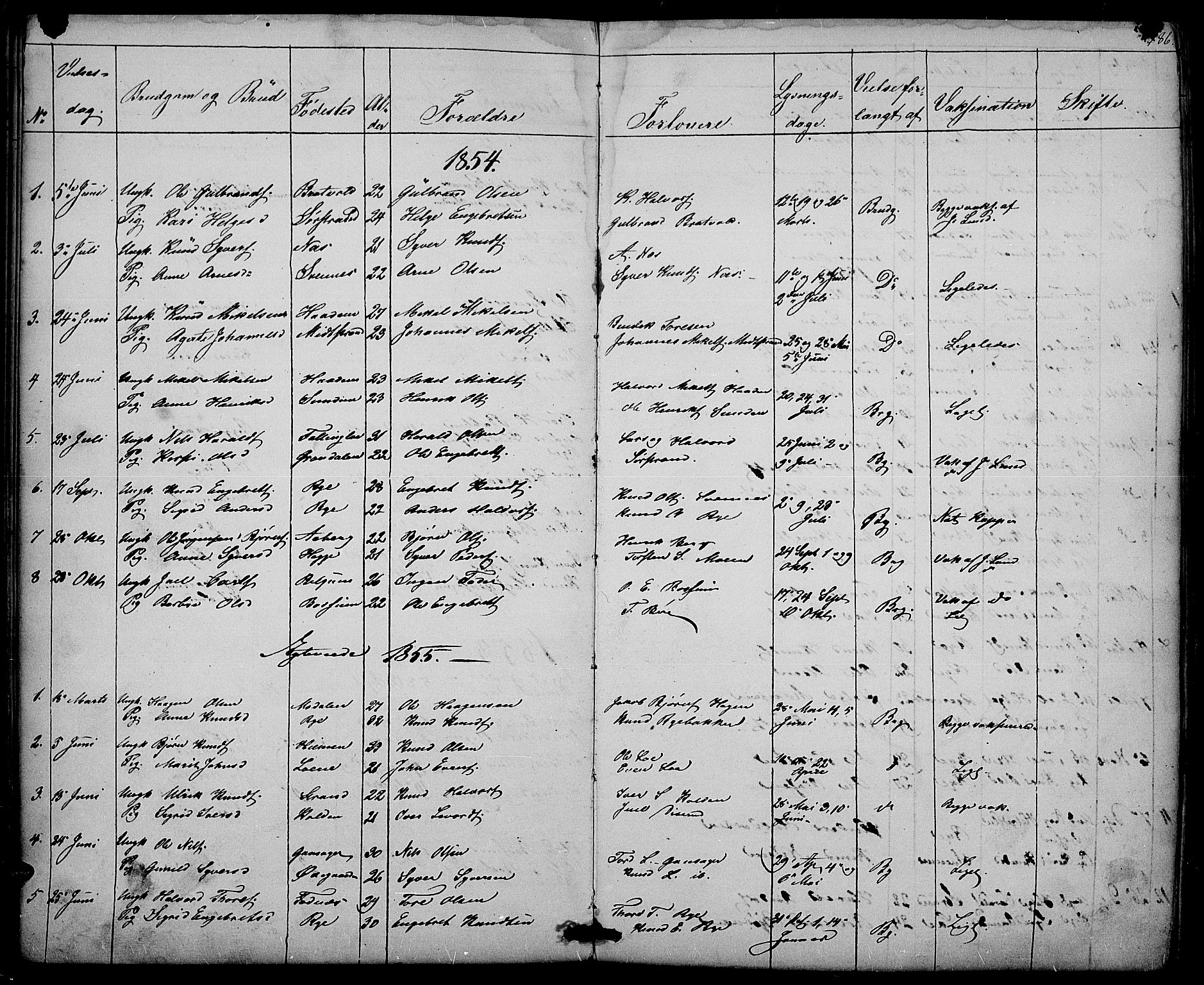 SAH, Nord-Aurdal prestekontor, Klokkerbok nr. 3, 1842-1882, s. 186