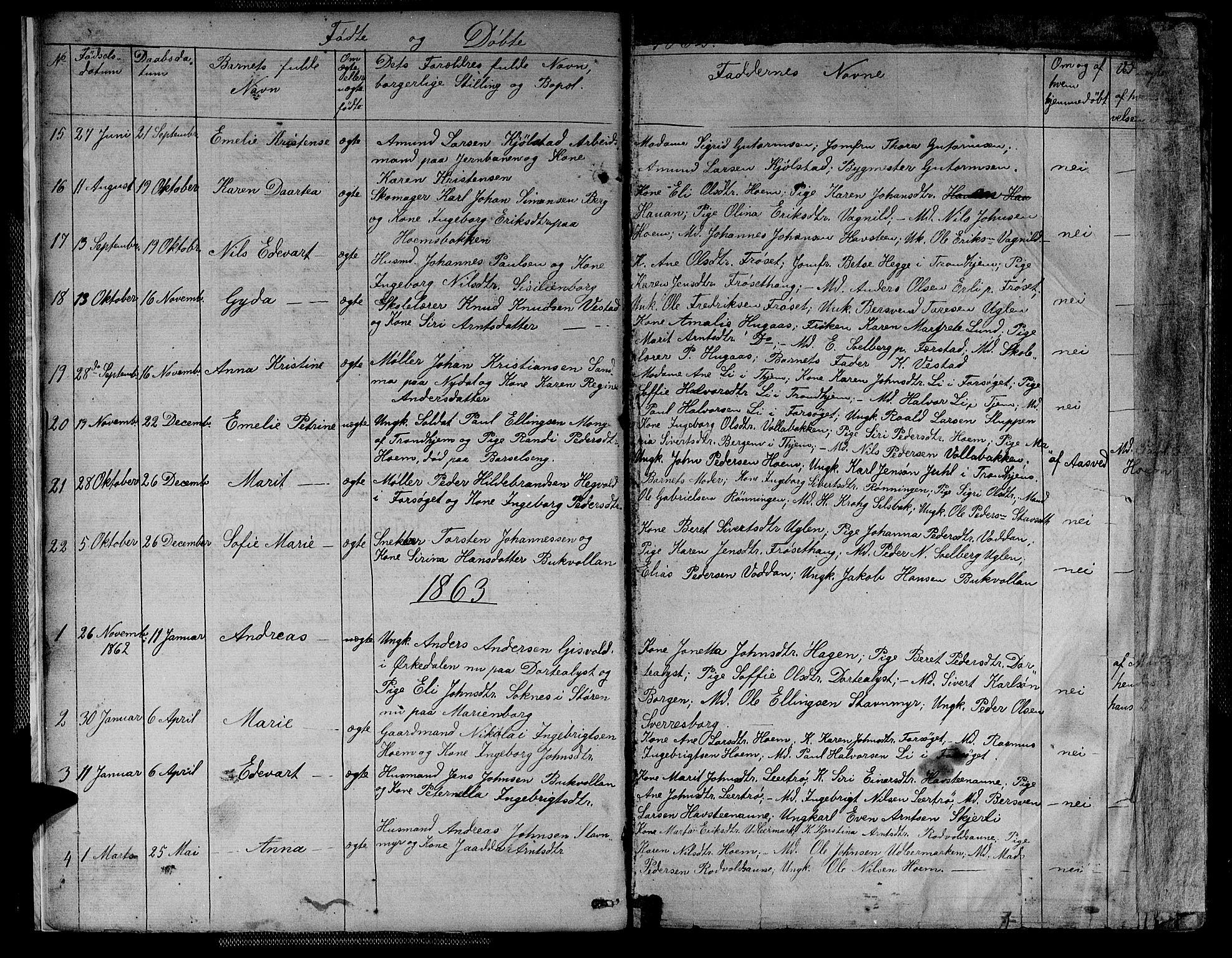 SAT, Ministerialprotokoller, klokkerbøker og fødselsregistre - Sør-Trøndelag, 611/L0353: Klokkerbok nr. 611C01, 1854-1881, s. 8
