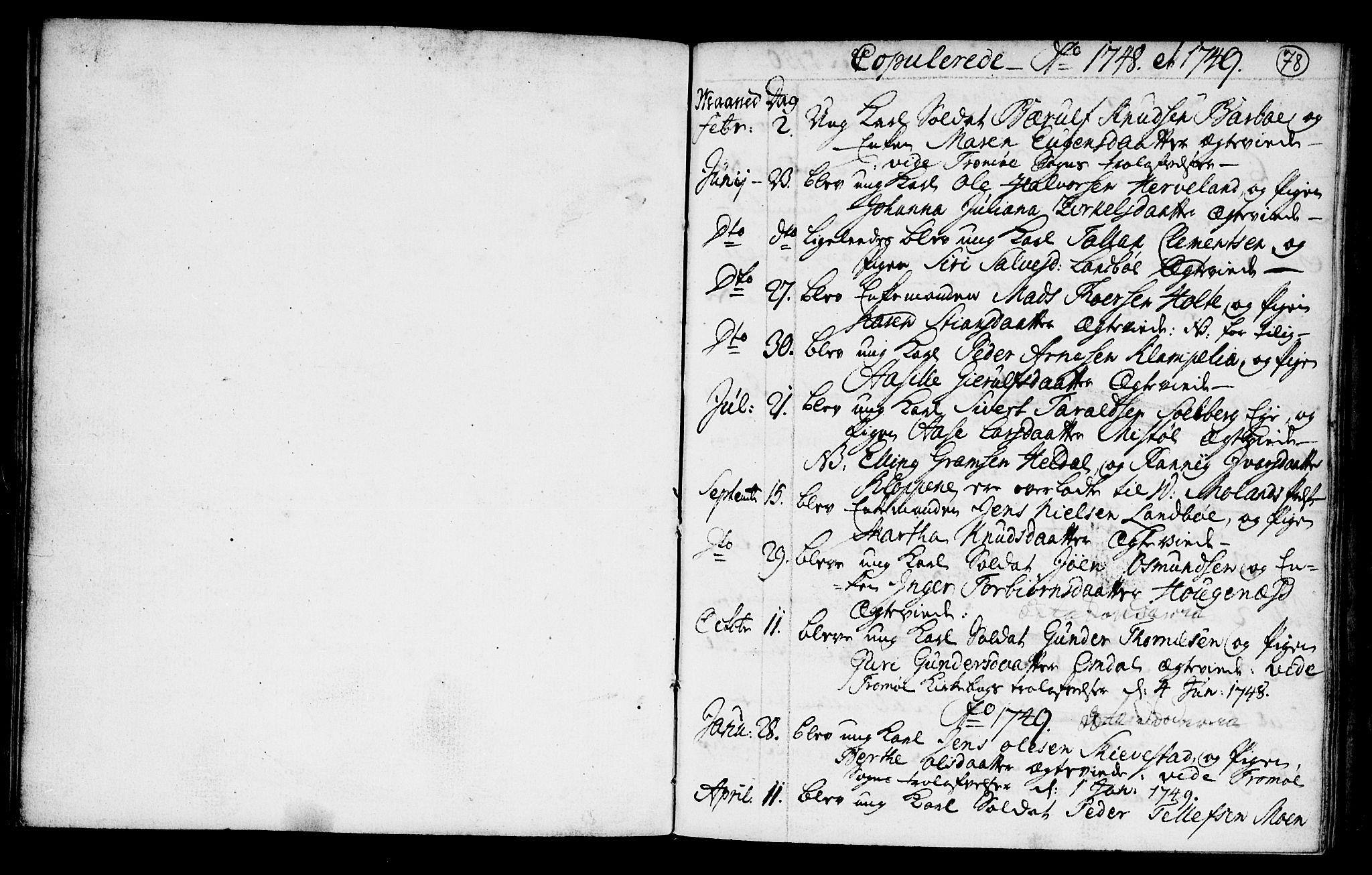 SAK, Austre Moland sokneprestkontor, F/Fa/Faa/L0001: Ministerialbok nr. A 1, 1747-1764, s. 78
