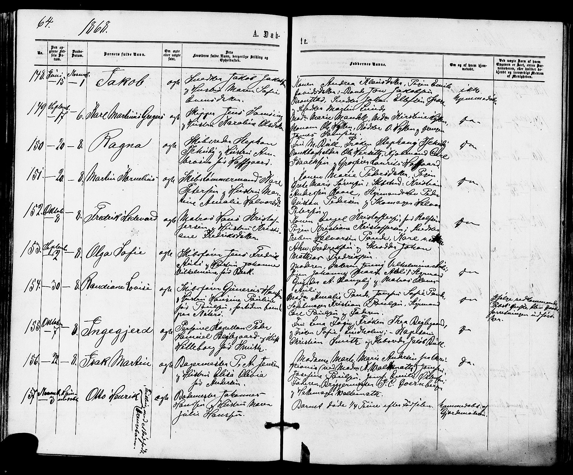 SAKO, Tønsberg kirkebøker, F/Fa/L0009: Ministerialbok nr. I 9, 1865-1873, s. 64