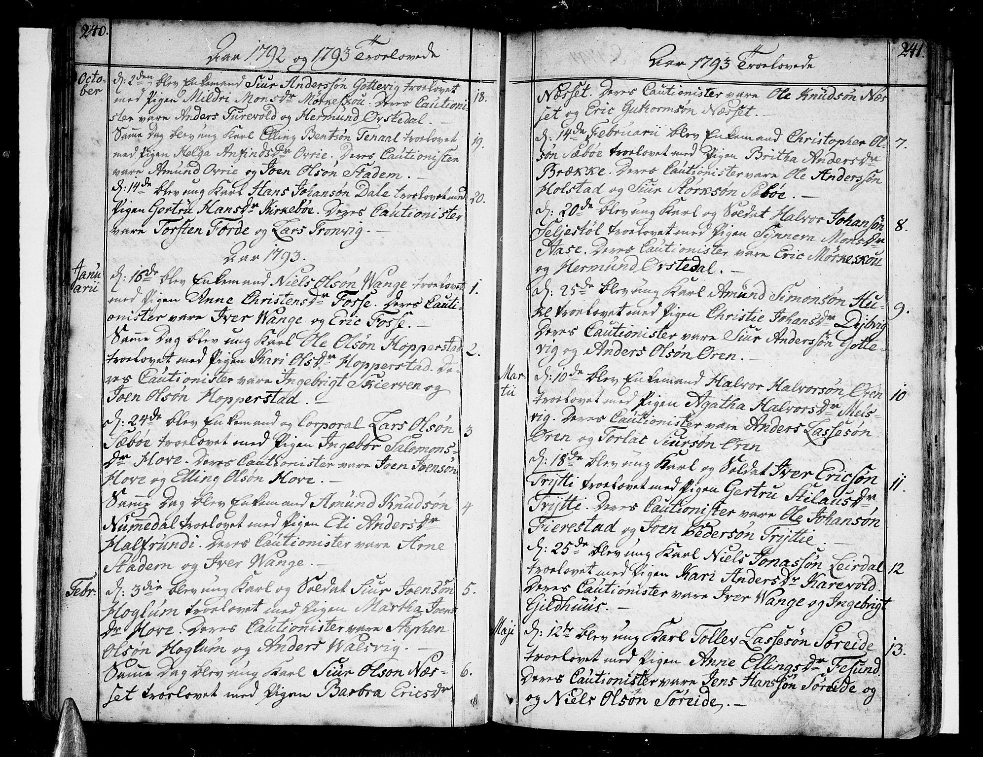 SAB, Vik Sokneprestembete, Ministerialbok nr. A 5, 1787-1820, s. 240-241
