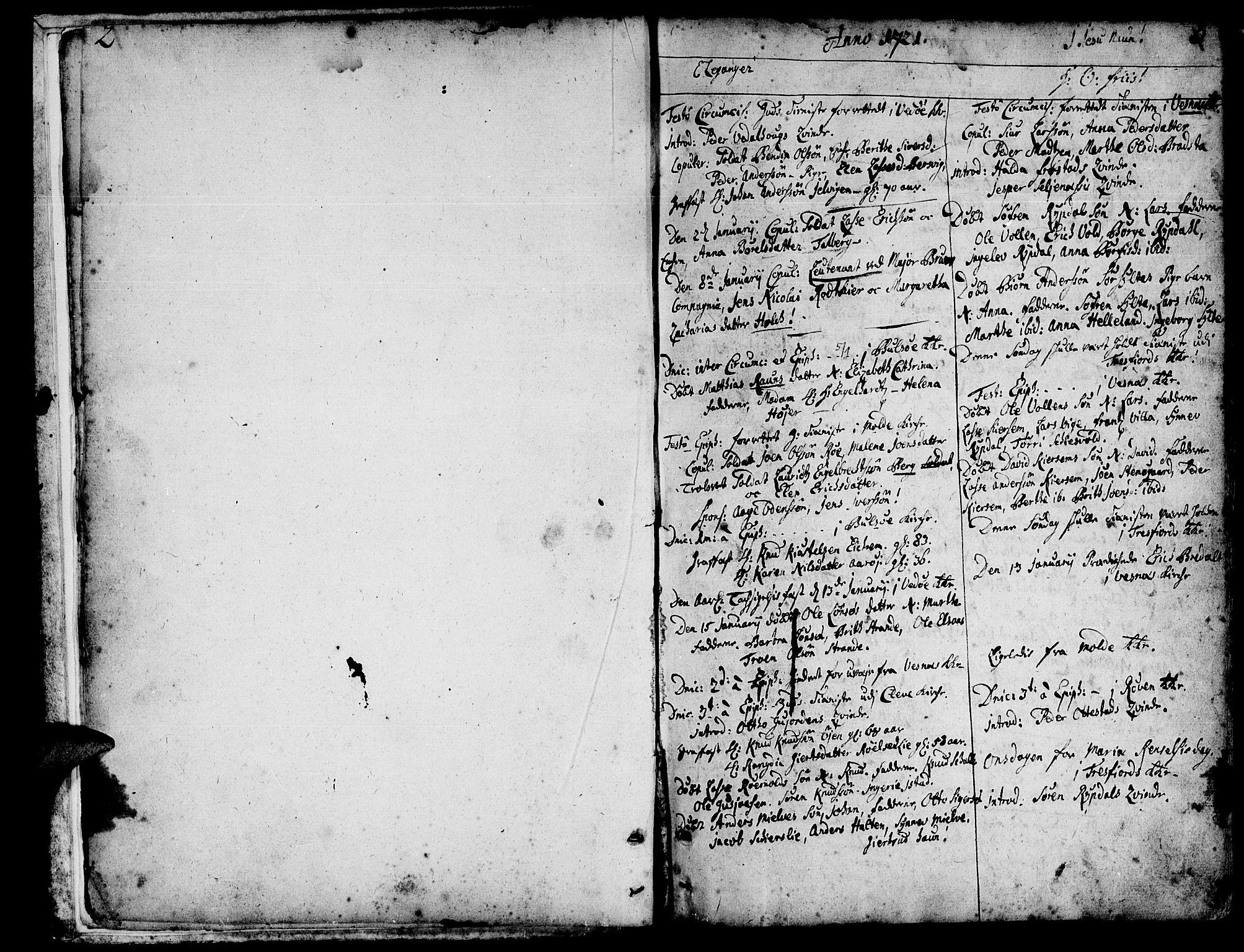 SAT, Ministerialprotokoller, klokkerbøker og fødselsregistre - Møre og Romsdal, 547/L0599: Ministerialbok nr. 547A01, 1721-1764, s. 2-3