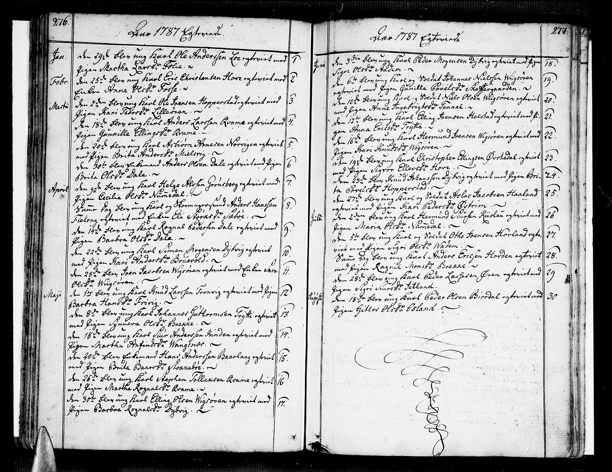 SAB, Vik Sokneprestembete, Ministerialbok nr. A 5, 1787-1820, s. 276-277