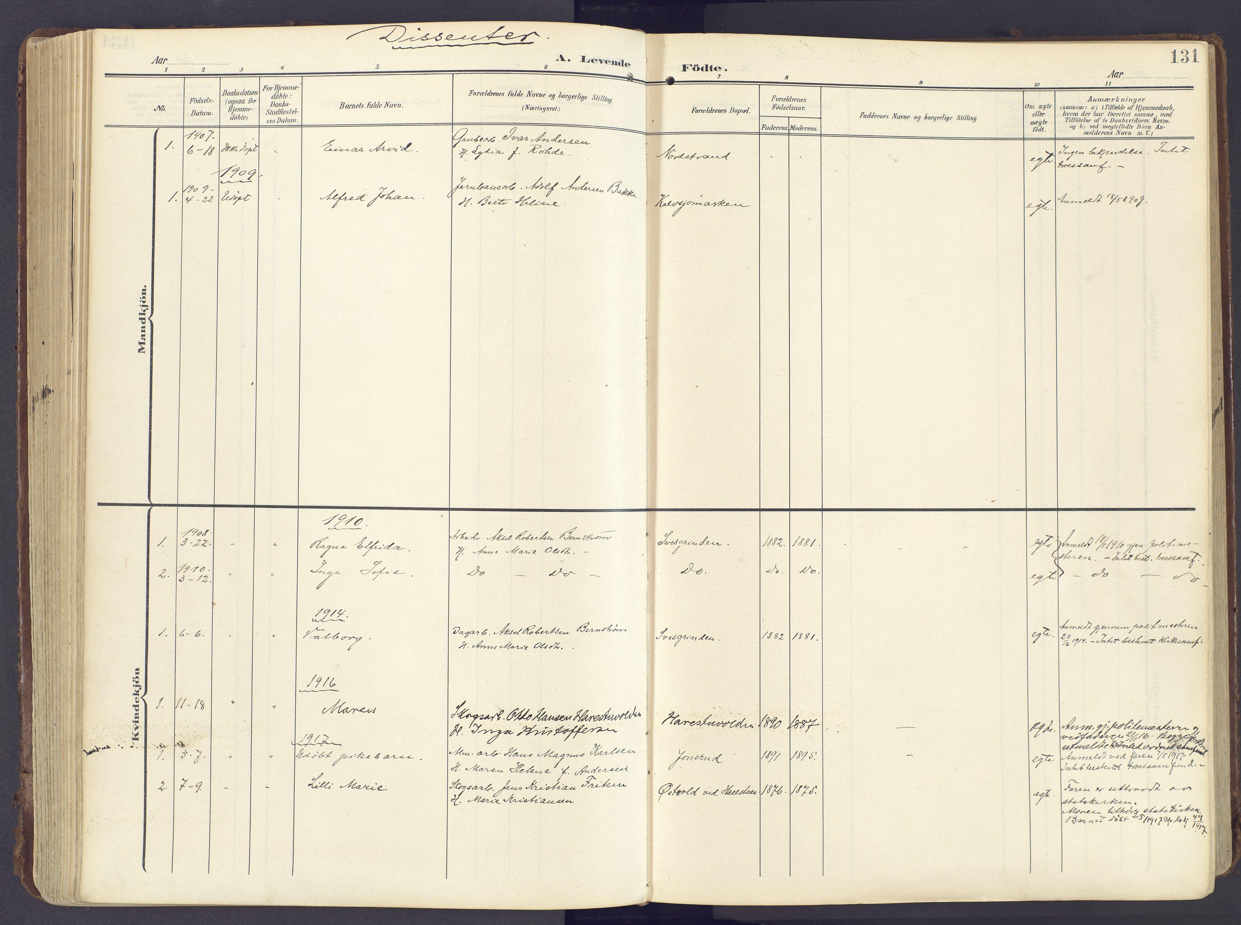 SAH, Lunner prestekontor, H/Ha/Haa/L0001: Ministerialbok nr. 1, 1907-1922, s. 131