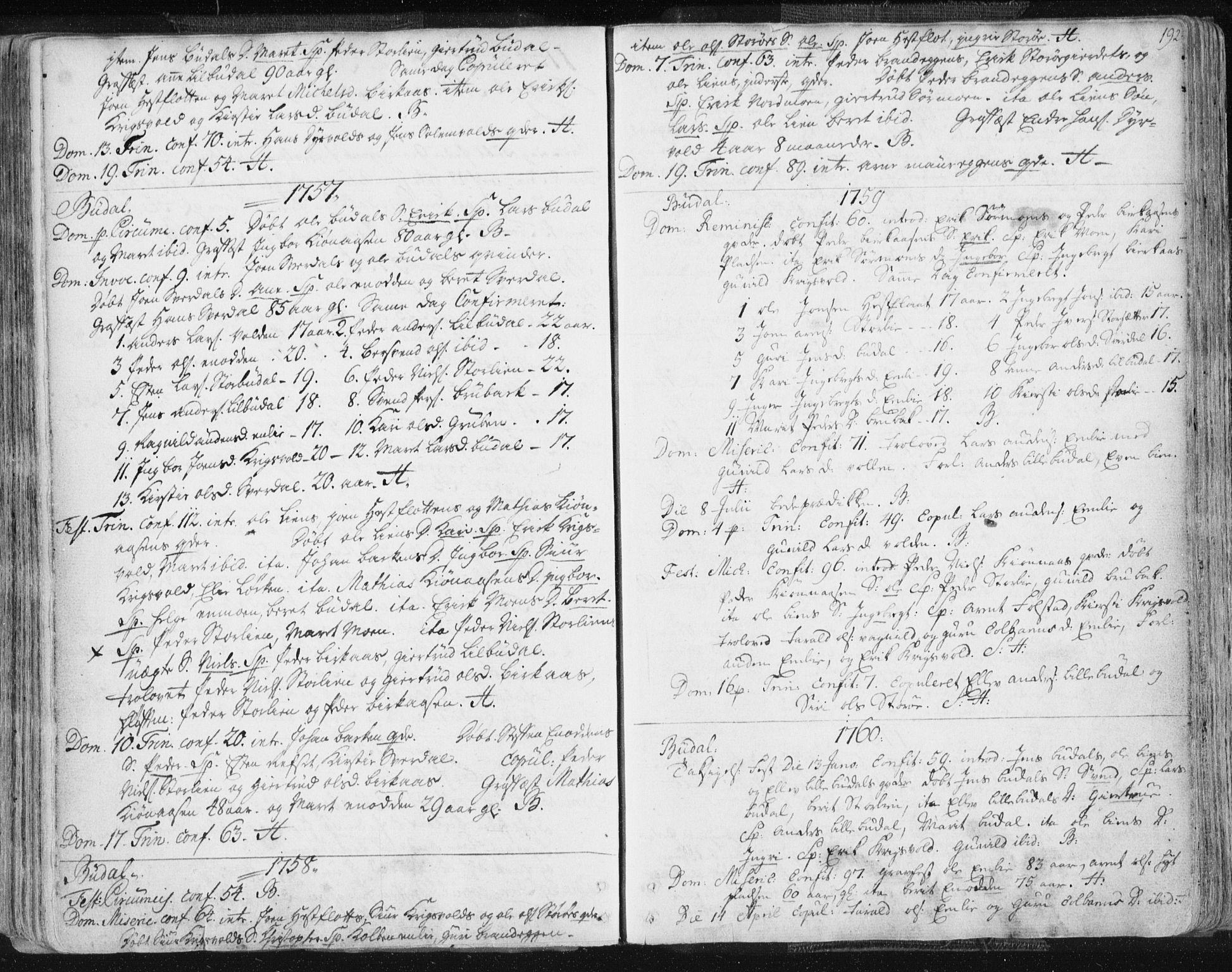 SAT, Ministerialprotokoller, klokkerbøker og fødselsregistre - Sør-Trøndelag, 687/L0991: Ministerialbok nr. 687A02, 1747-1790, s. 192