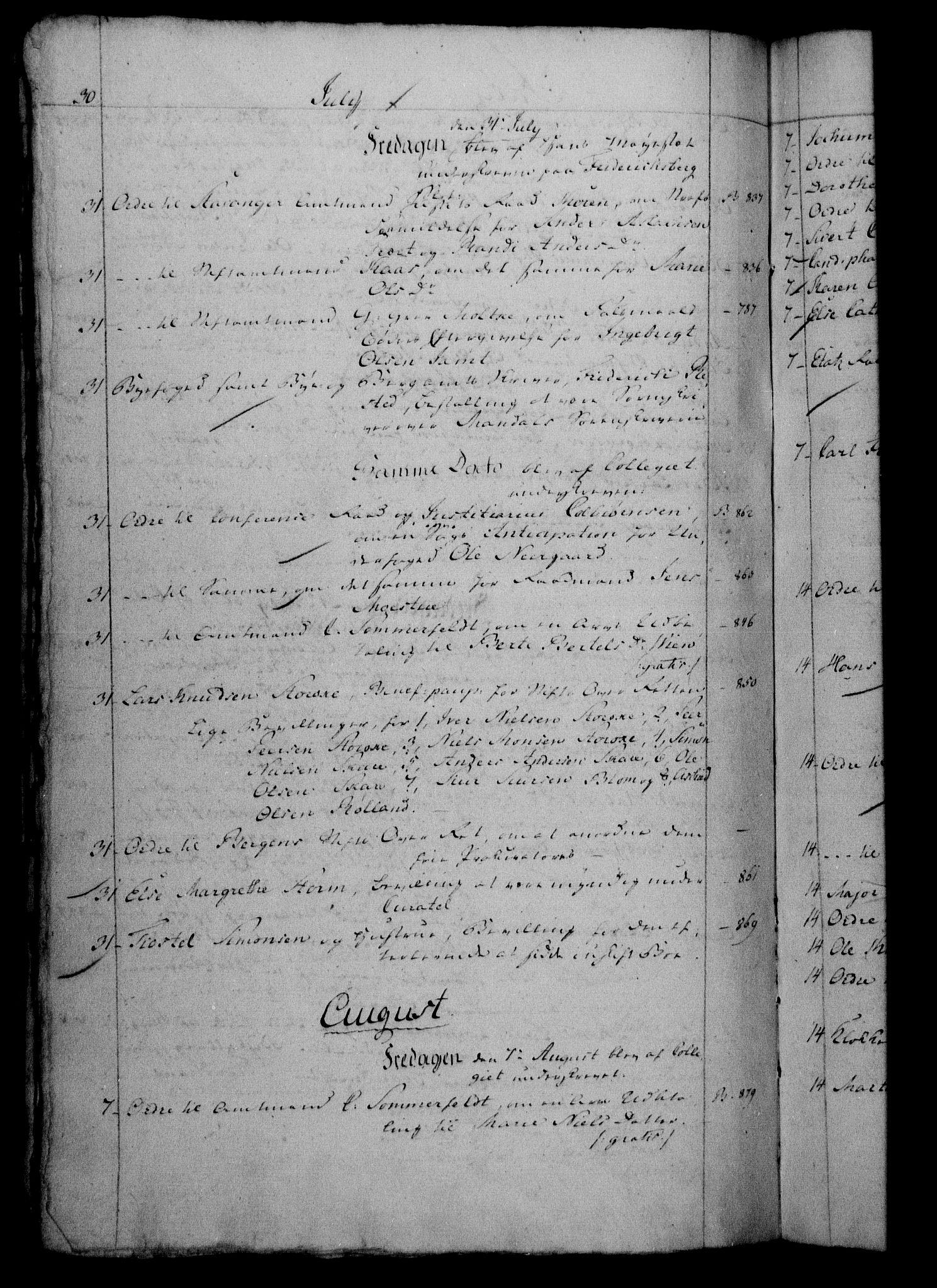 RA, Danske Kanselli 1800-1814, H/Hf/Hfb/Hfbc/L0002: Underskrivelsesbok m. register, 1801, s. 30