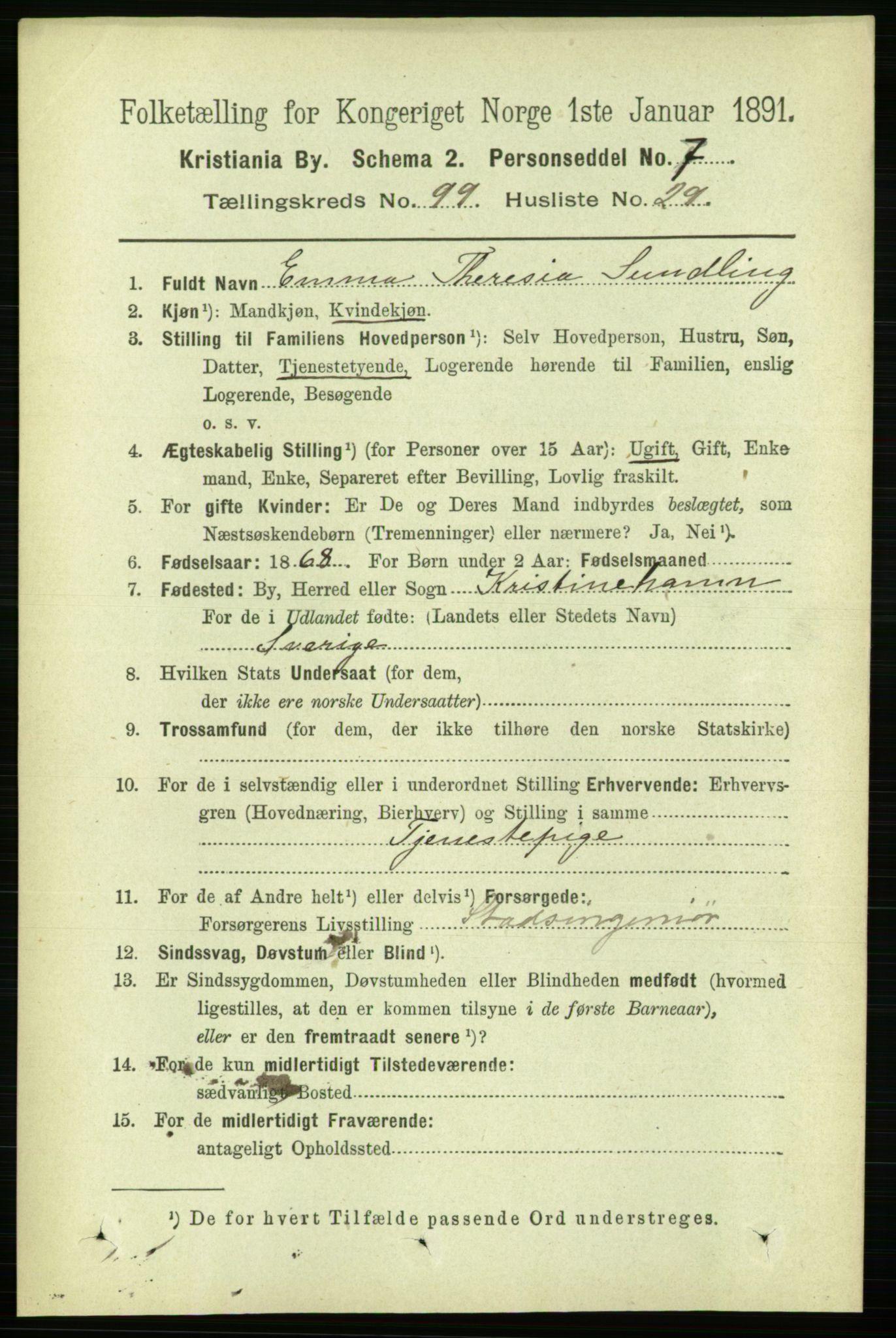 RA, Folketelling 1891 for 0301 Kristiania kjøpstad, 1891, s. 49080