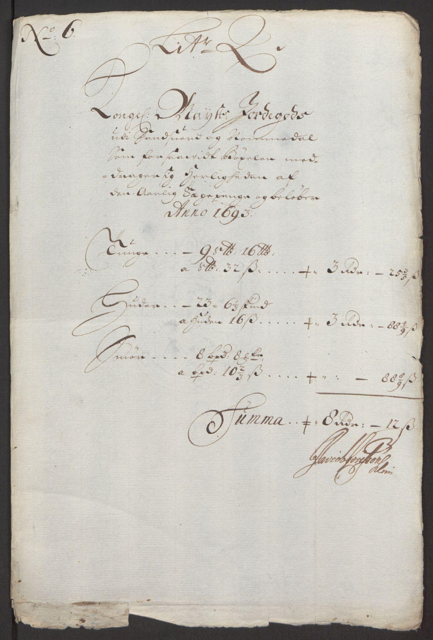 RA, Rentekammeret inntil 1814, Reviderte regnskaper, Fogderegnskap, R24/L1575: Fogderegnskap Numedal og Sandsvær, 1692-1695, s. 146
