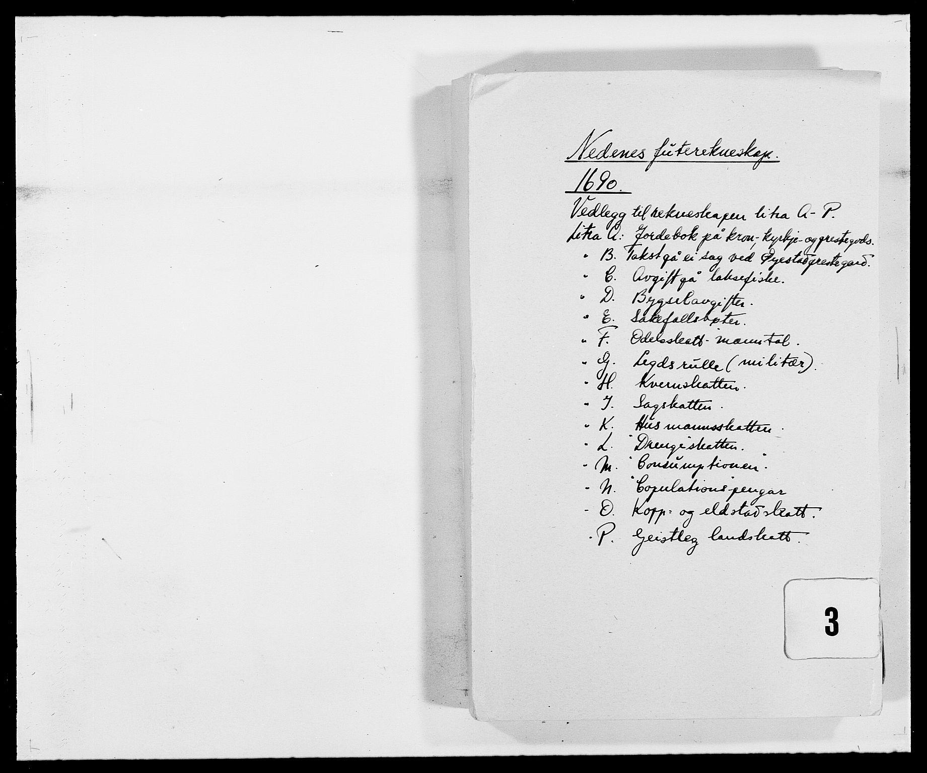 RA, Rentekammeret inntil 1814, Reviderte regnskaper, Fogderegnskap, R39/L2310: Fogderegnskap Nedenes, 1690-1692, s. 103