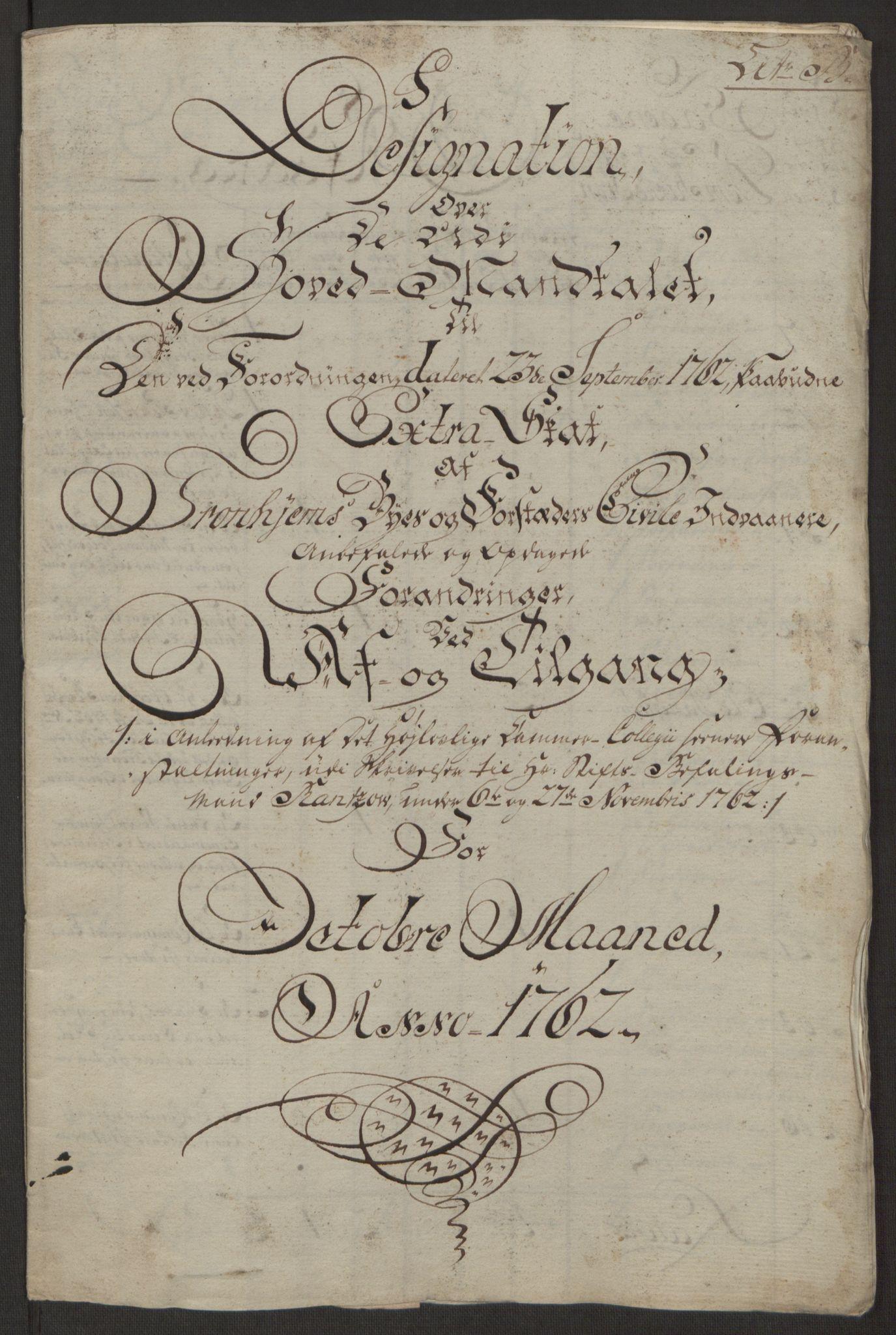 RA, Rentekammeret inntil 1814, Reviderte regnskaper, Byregnskaper, R/Rs/L0516: [S9] Kontribusjonsregnskap, 1762-1767, s. 83