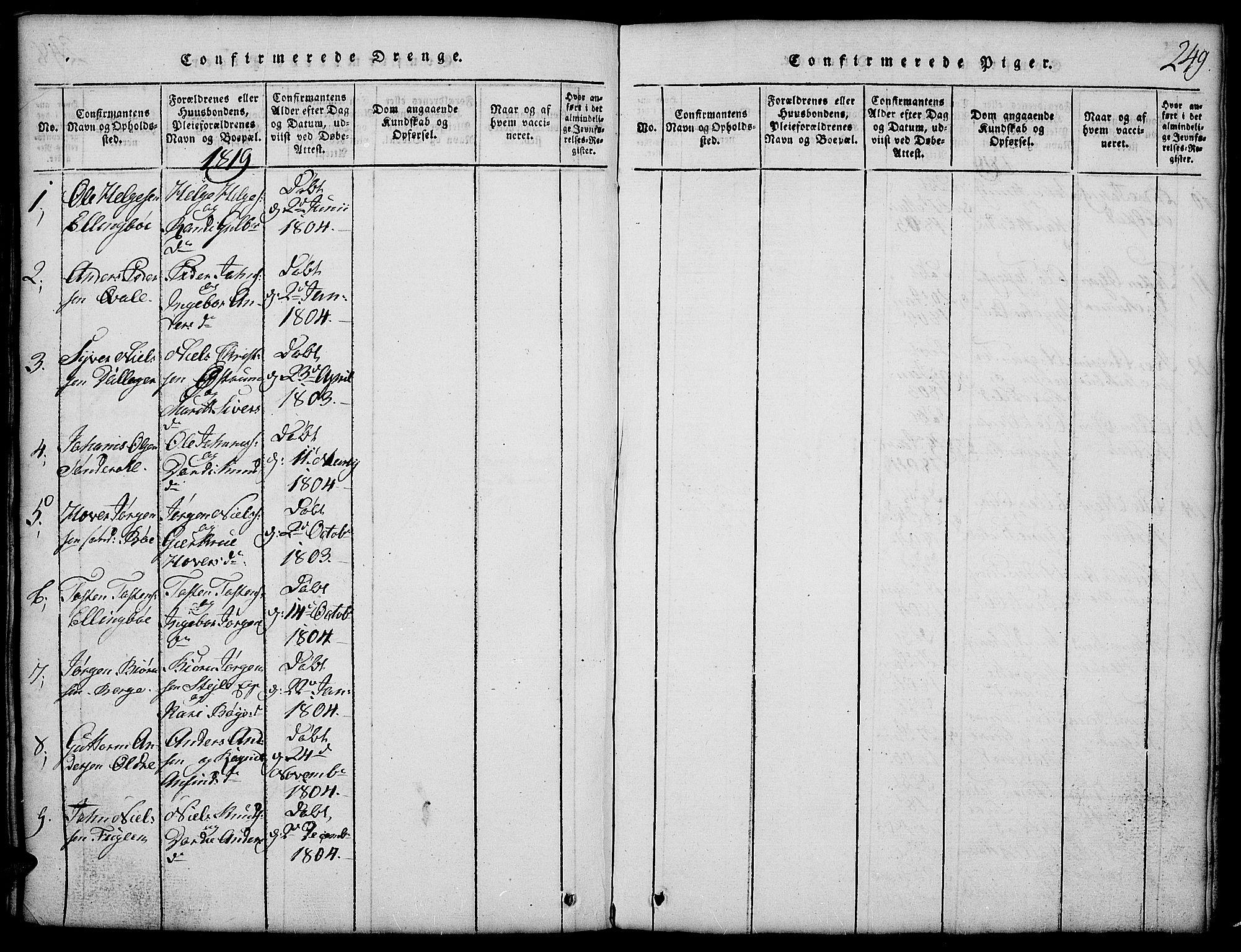 SAH, Vang prestekontor, Valdres, Klokkerbok nr. 2, 1814-1889, s. 249