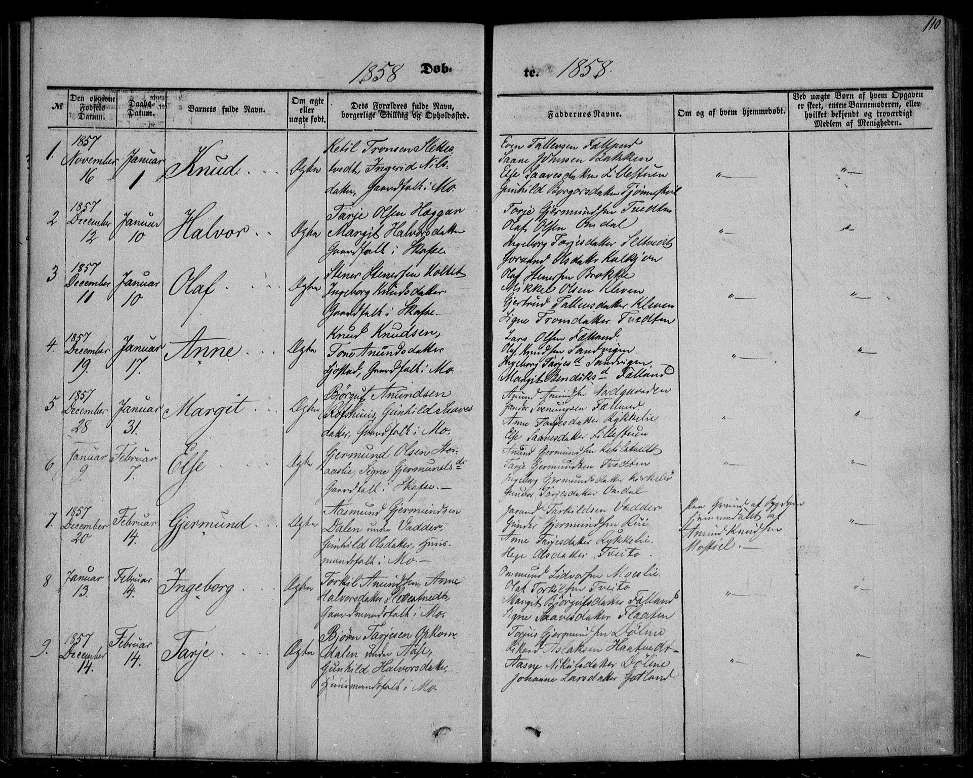 SAKO, Mo kirkebøker, F/Fa/L0005: Ministerialbok nr. I 5, 1844-1864, s. 110