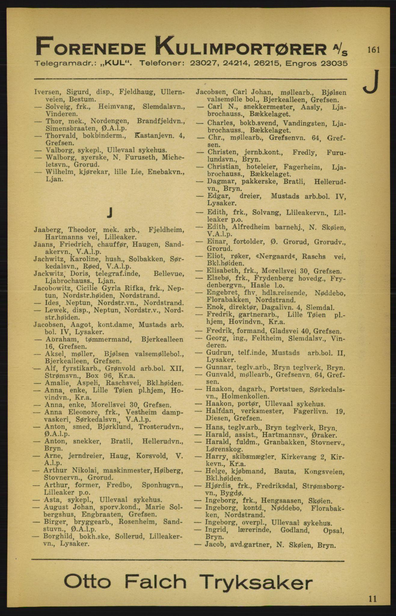 PUBL, Aker adressebok/adressekalender, 1924-1925, s. 161