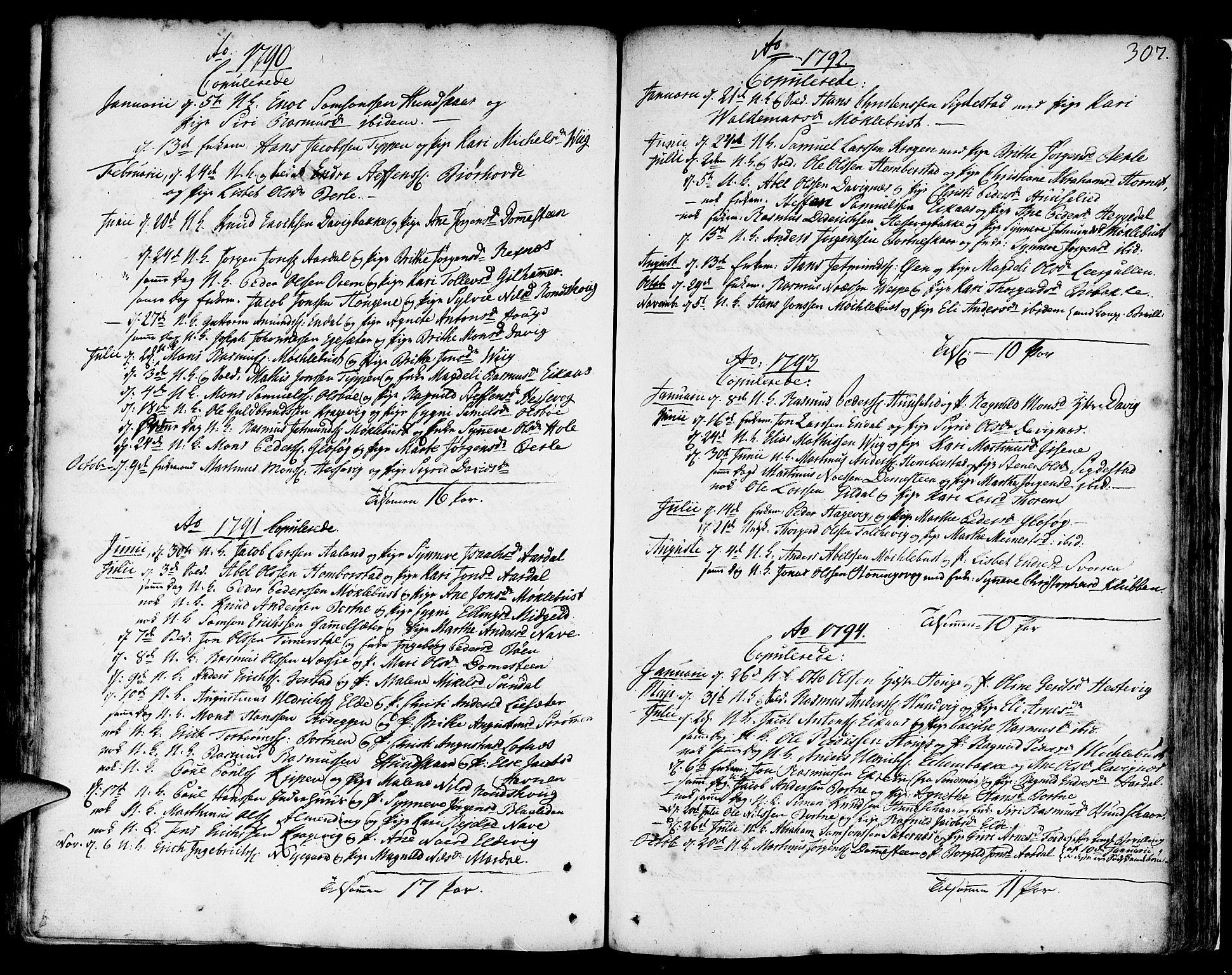 SAB, Davik Sokneprestembete, Ministerialbok nr. A 2, 1742-1816, s. 307