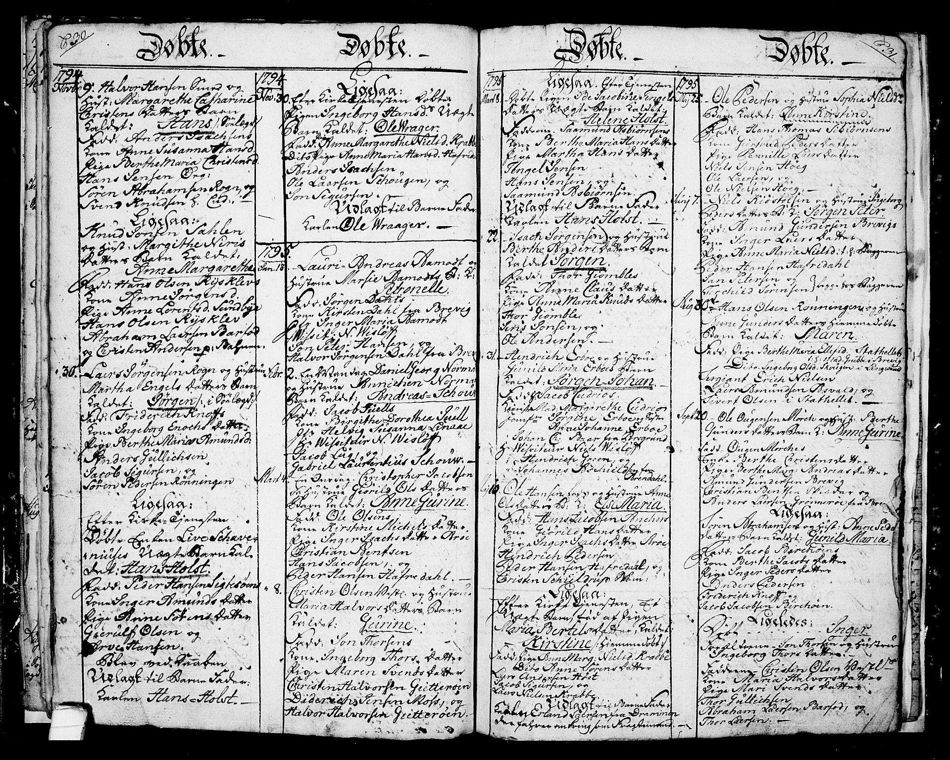 SAKO, Langesund kirkebøker, G/Ga/L0001: Klokkerbok nr. 1, 1783-1801, s. 30-31