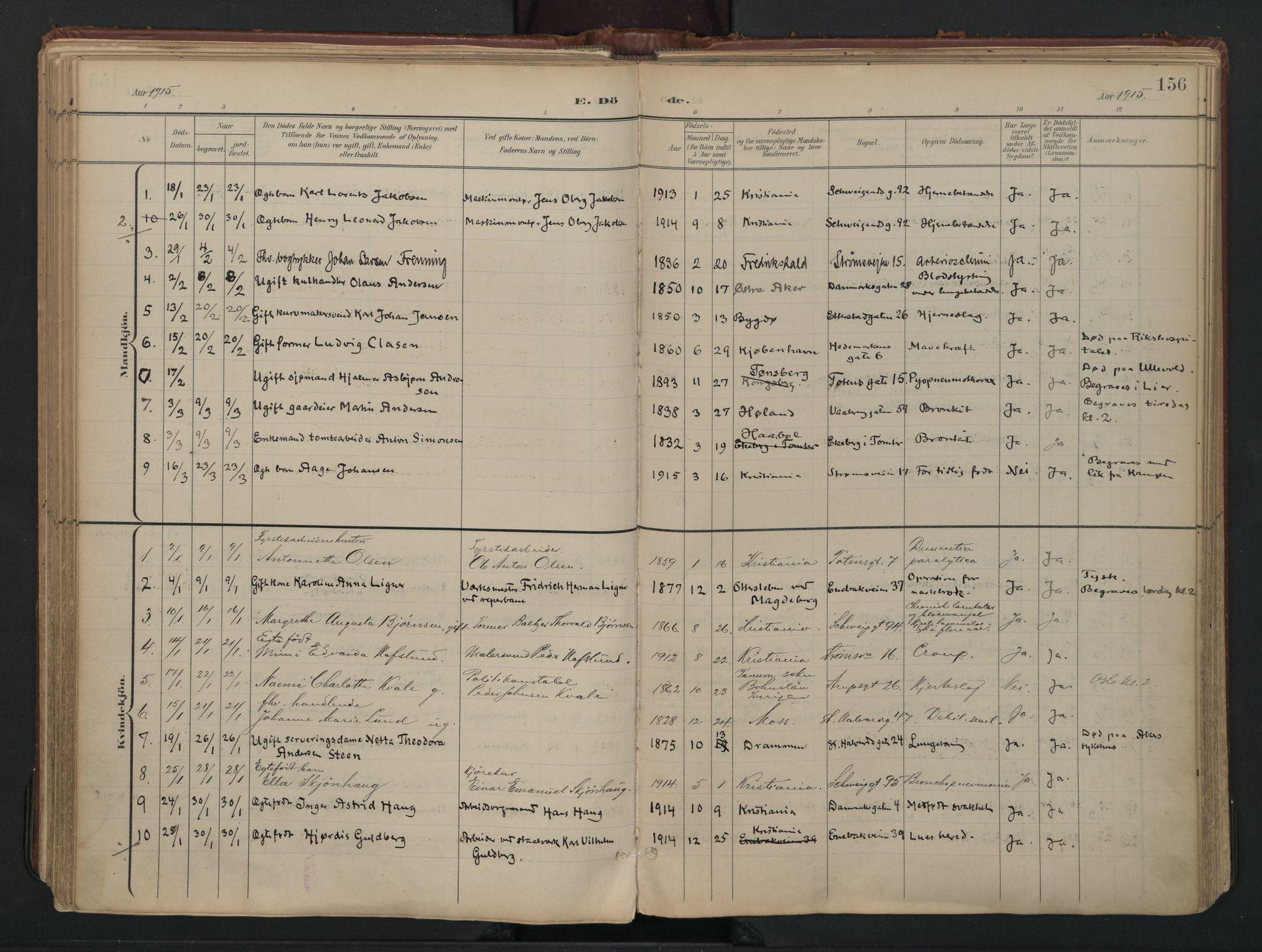 SAO, Vålerengen prestekontor Kirkebøker, F/Fa/L0003: Ministerialbok nr. 3, 1899-1930, s. 156