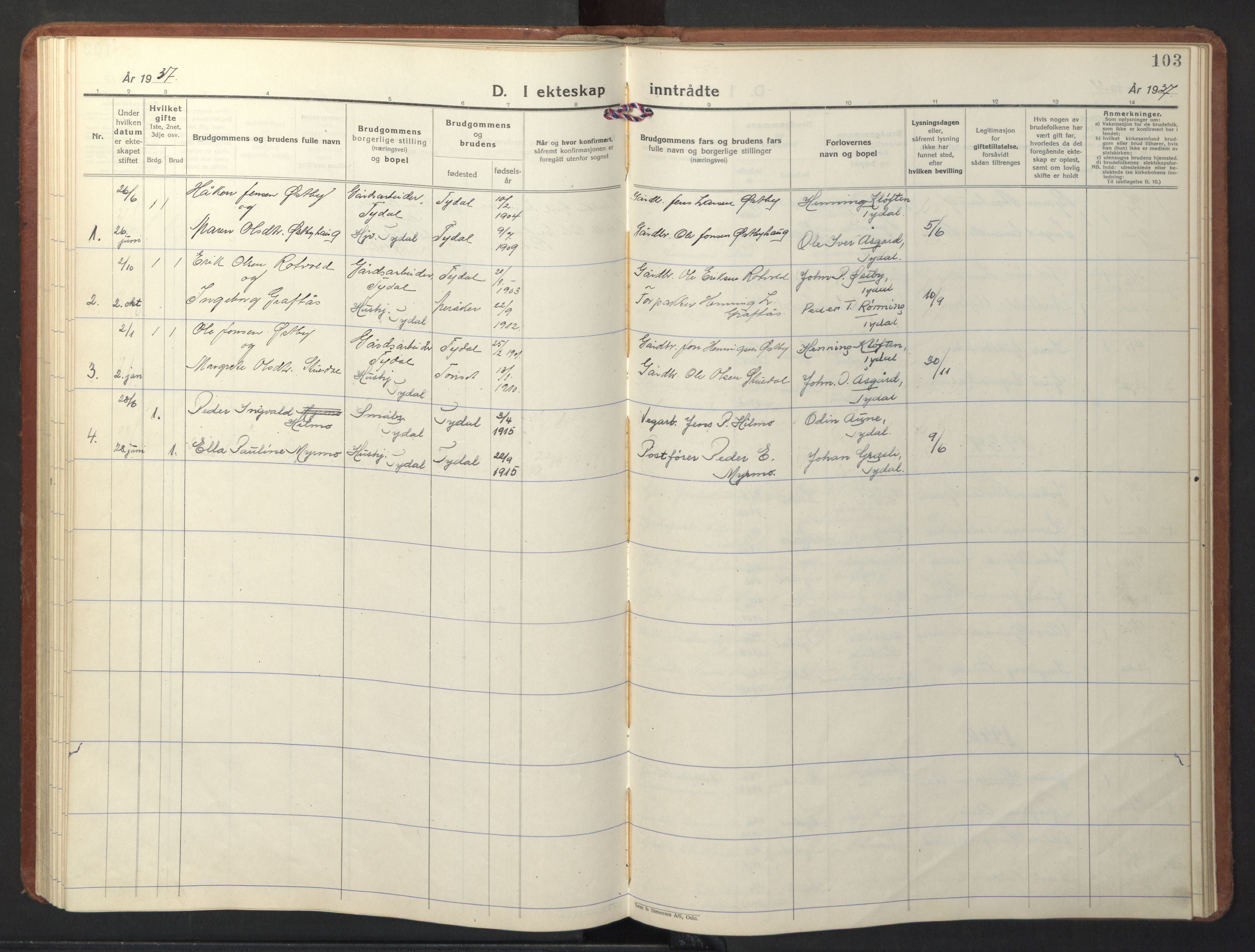 SAT, Ministerialprotokoller, klokkerbøker og fødselsregistre - Sør-Trøndelag, 698/L1169: Klokkerbok nr. 698C06, 1930-1949, s. 103